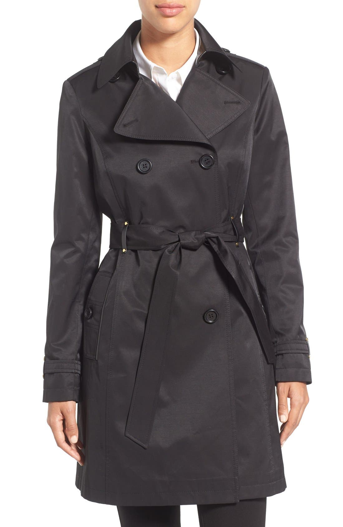 Double Breasted Trench with Faux Leather Trim,                         Main,                         color, Black