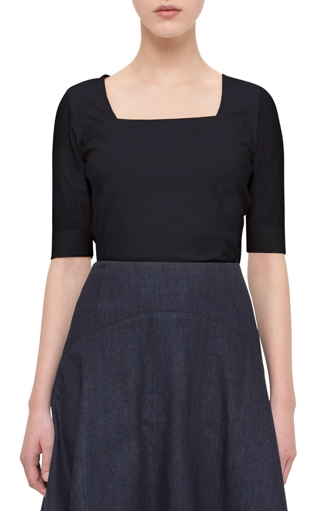 Half Sleeve Square Neck Tee,                         Main,                         color, Navy