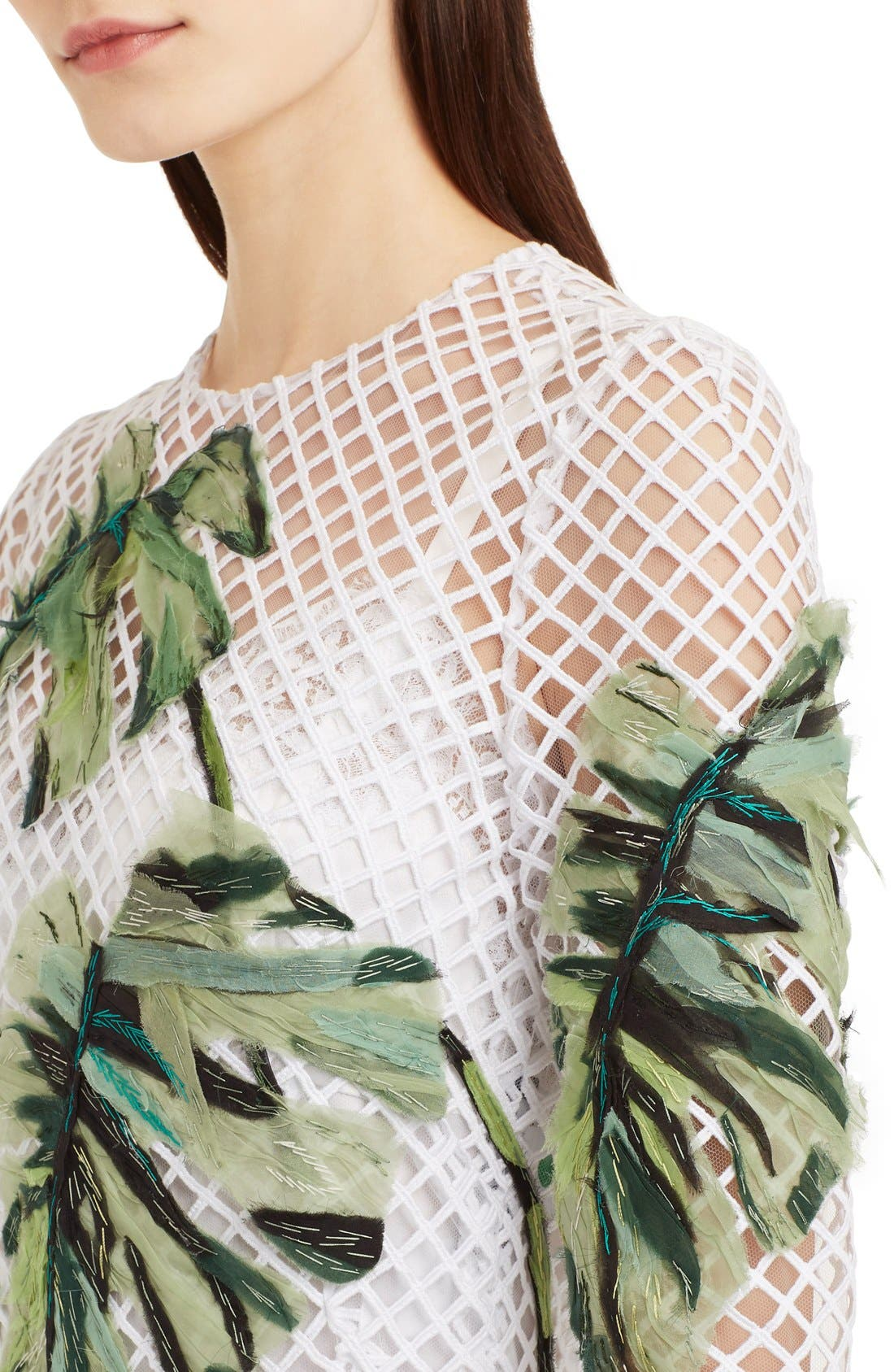 Alternate Image 5  - Dolce&Gabbana Banana Leaf Embellished Mesh Lace Dress