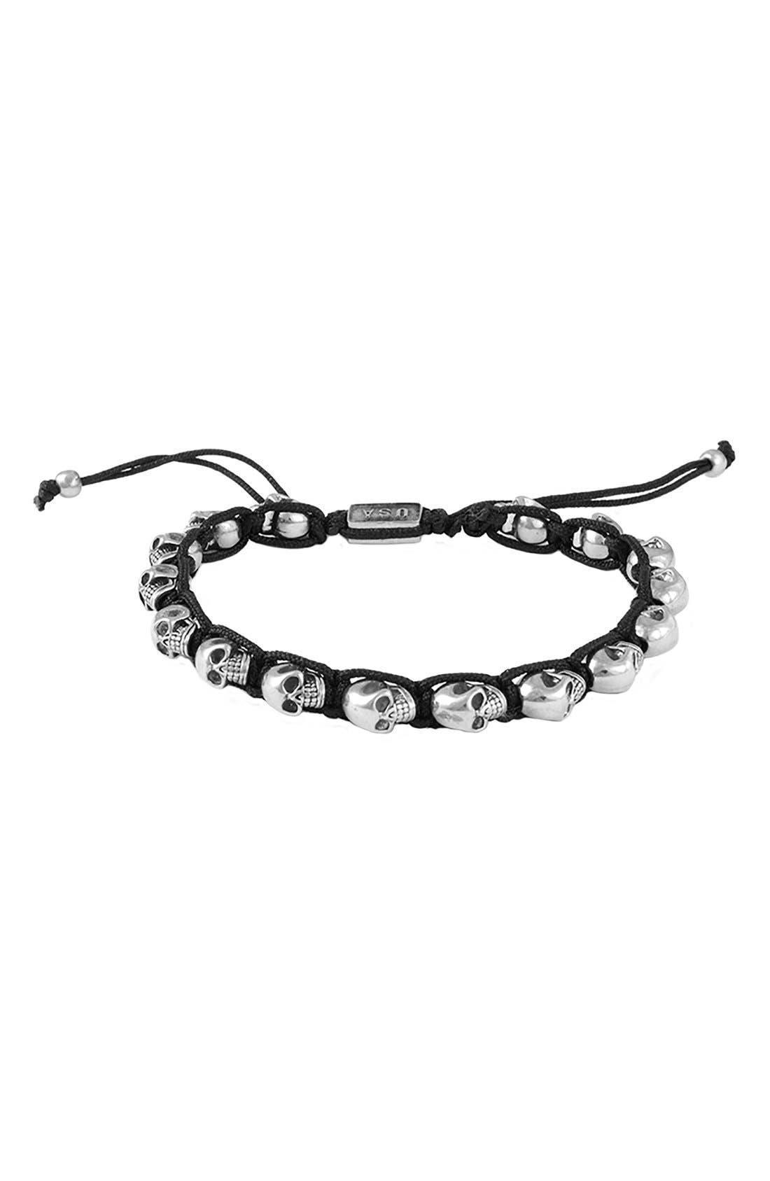 Skull Bracelet,                         Main,                         color, Silver/ Black