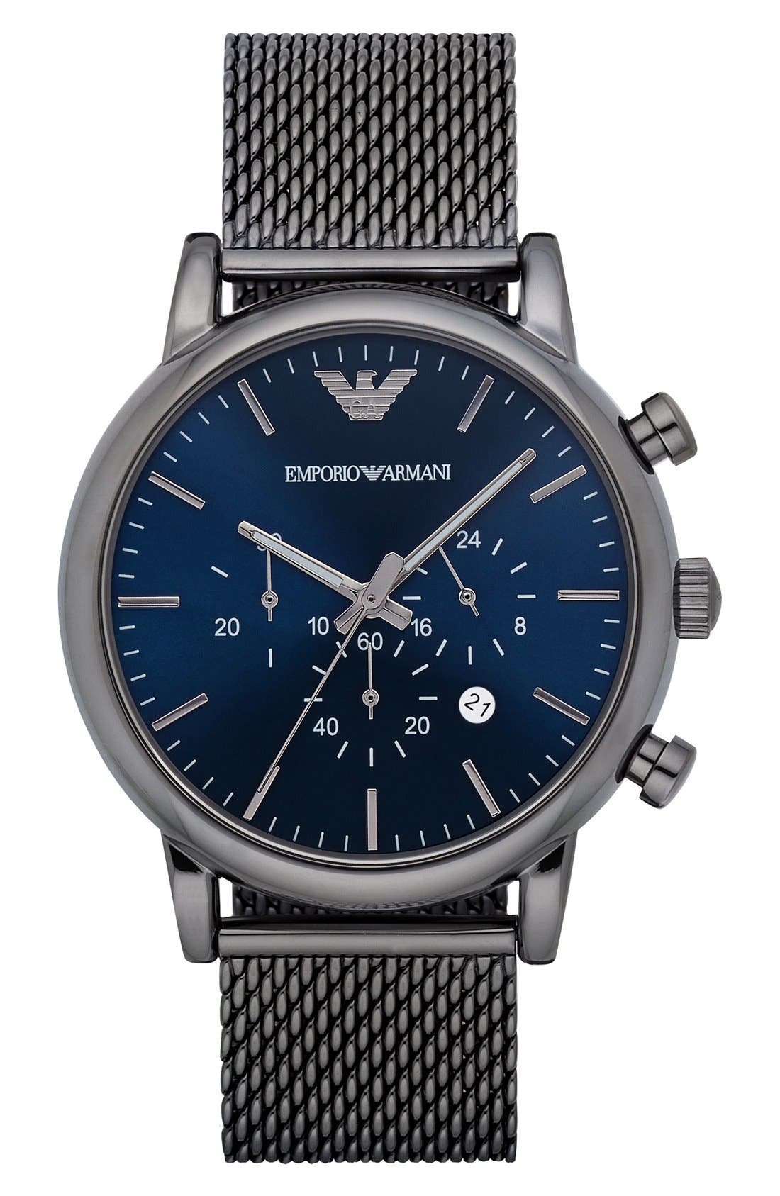 Chronograph Mesh Strap Watch, 46mm,                         Main,                         color, Gunmetal/ Navy Blue