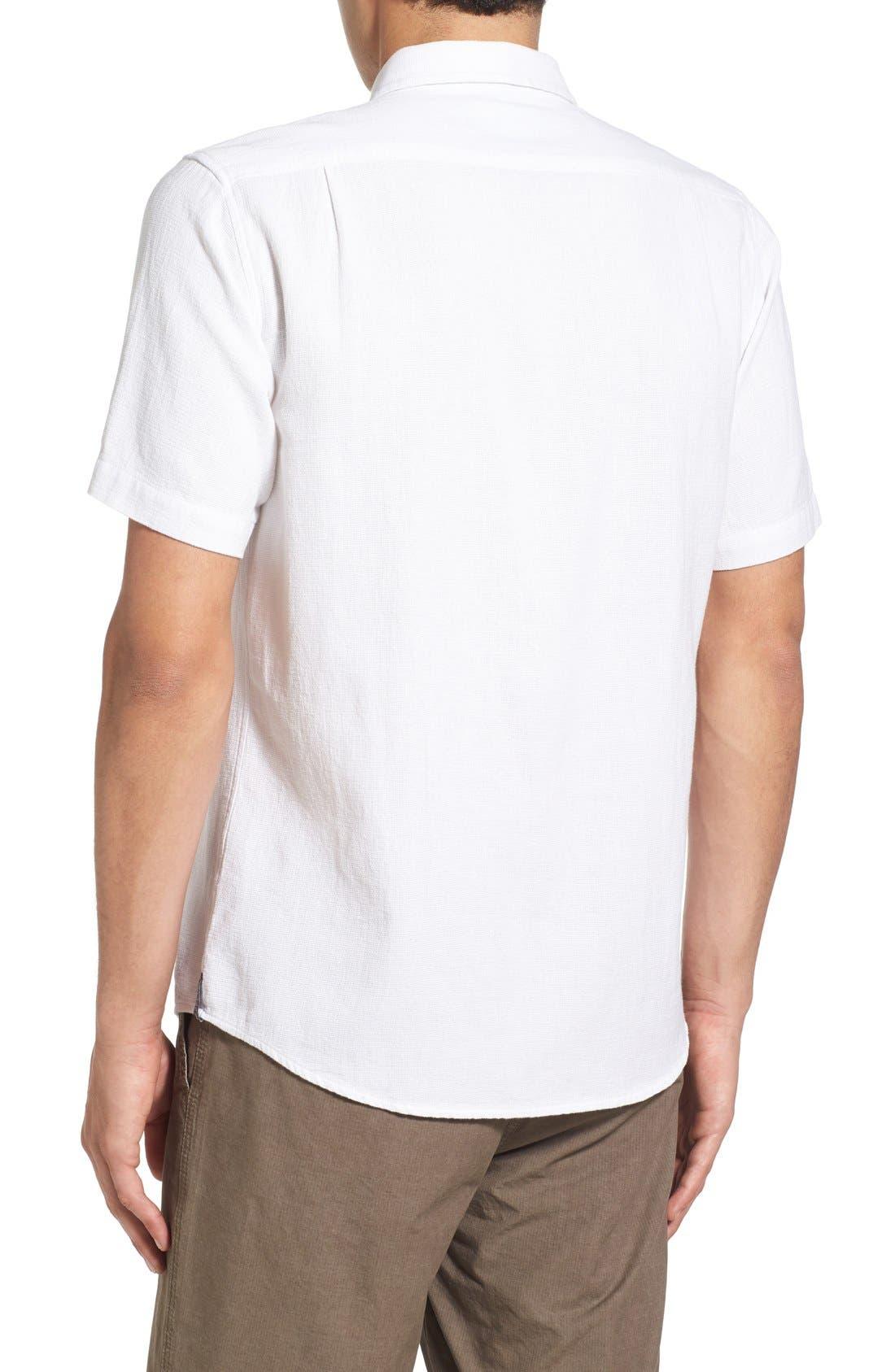'Highland' Regular Fit Short Sleeve Woven Shirt,                             Alternate thumbnail 2, color,                             White
