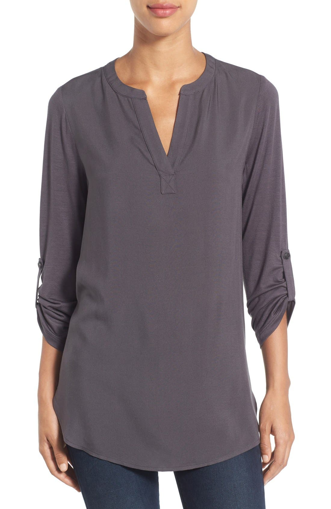 Pleione Split Neck Roll Sleeve Tunic (Regular & Petite)