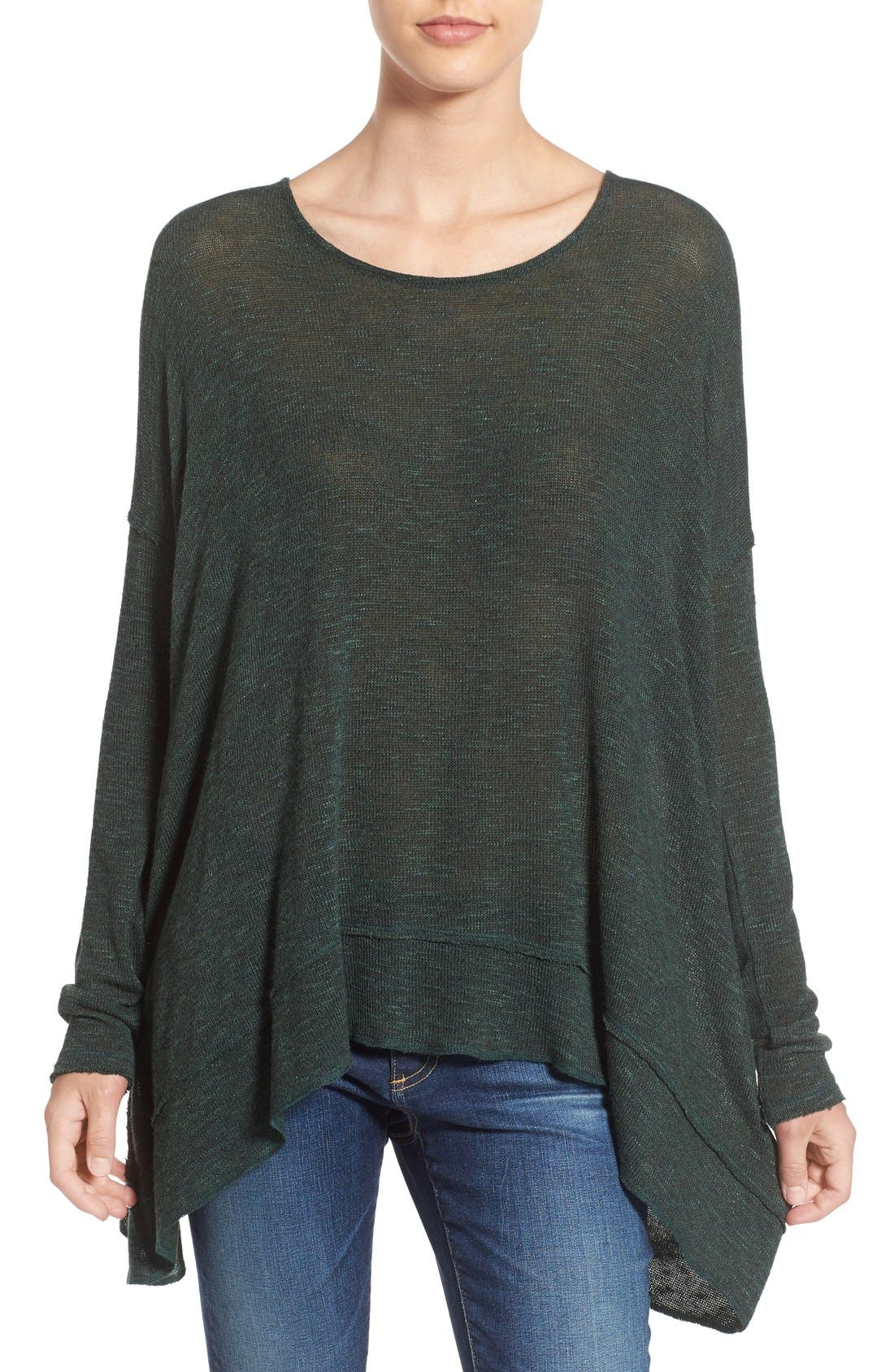 'Shadow' Oversize Hacci Open Back Top,                         Main,                         color, Moss