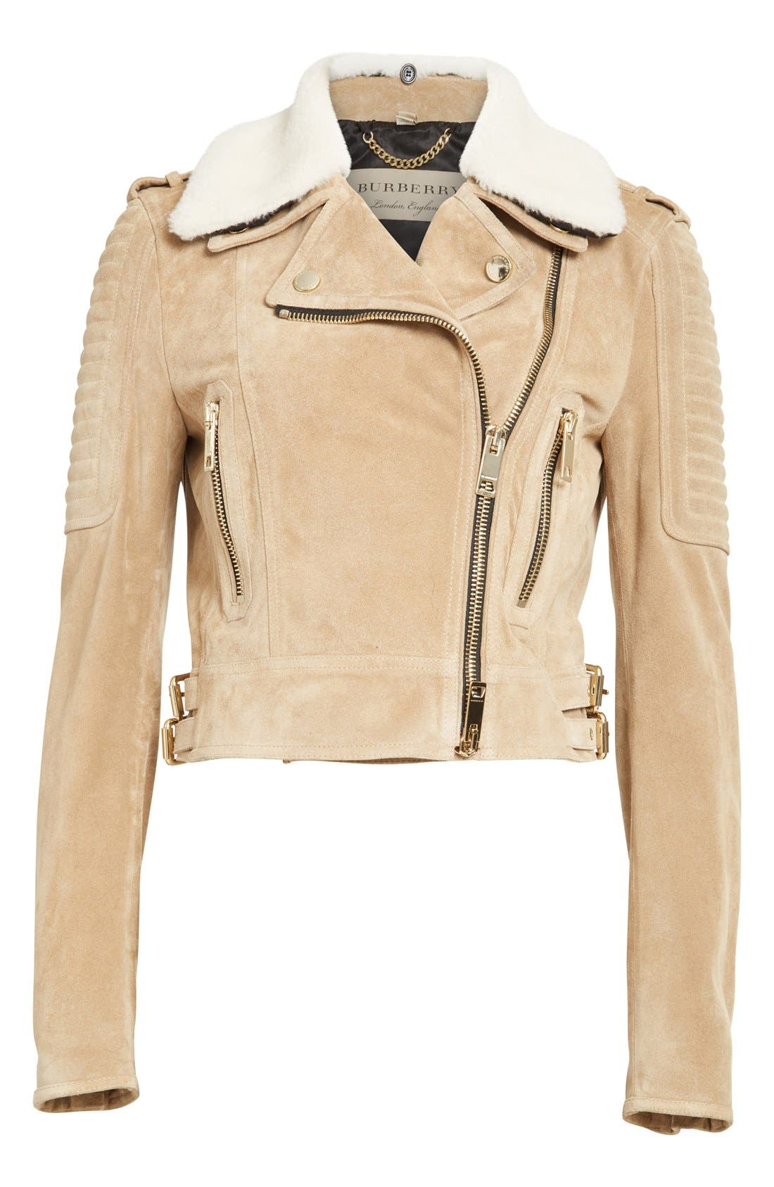 Alternate Image 4  - Burberry 'Peakhurst' Suede Biker Jacket with Removable Genuine Shearling Collar