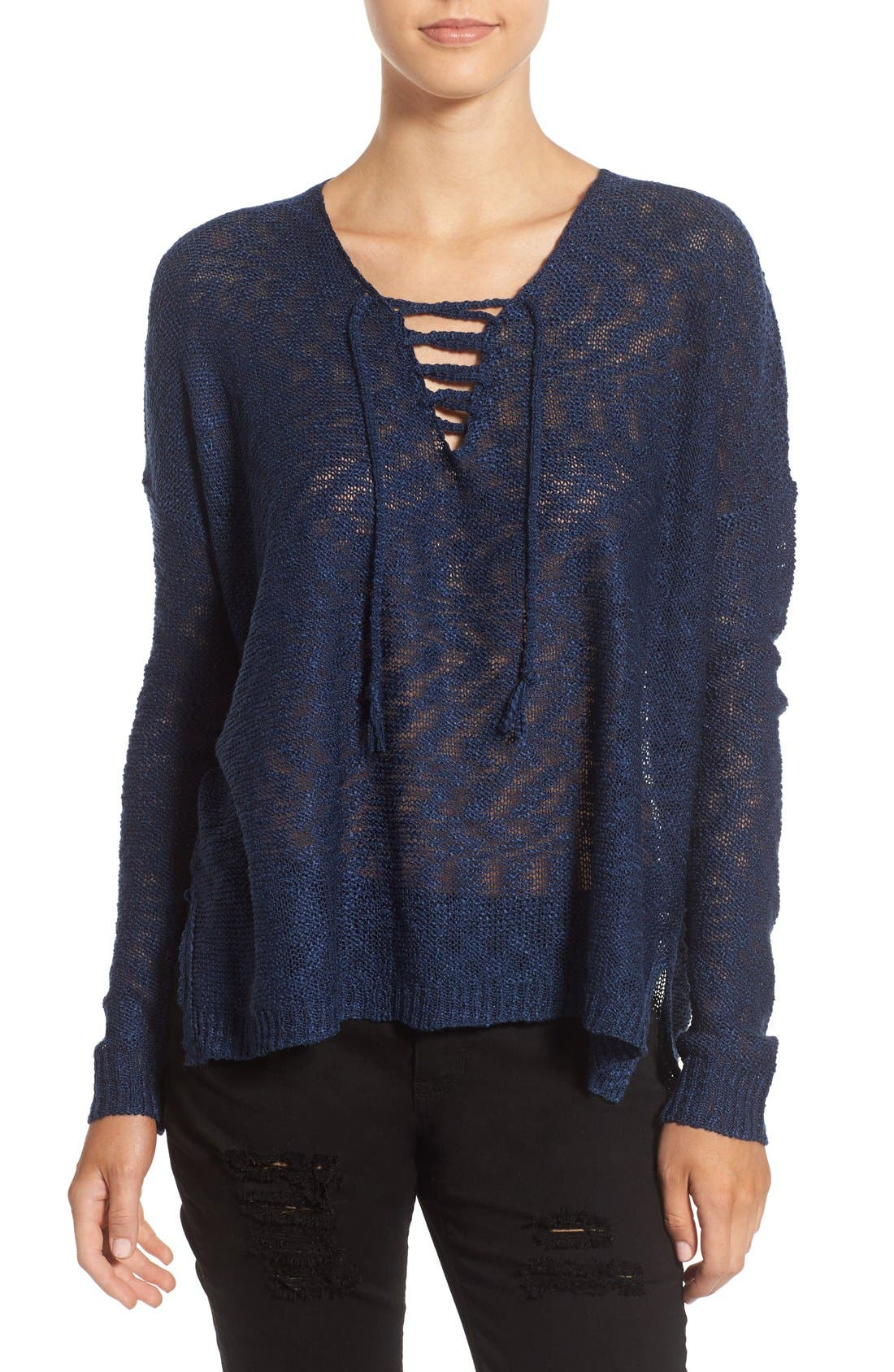 Alternate Image 1 Selected - Love by Design Lace-Up Pullover