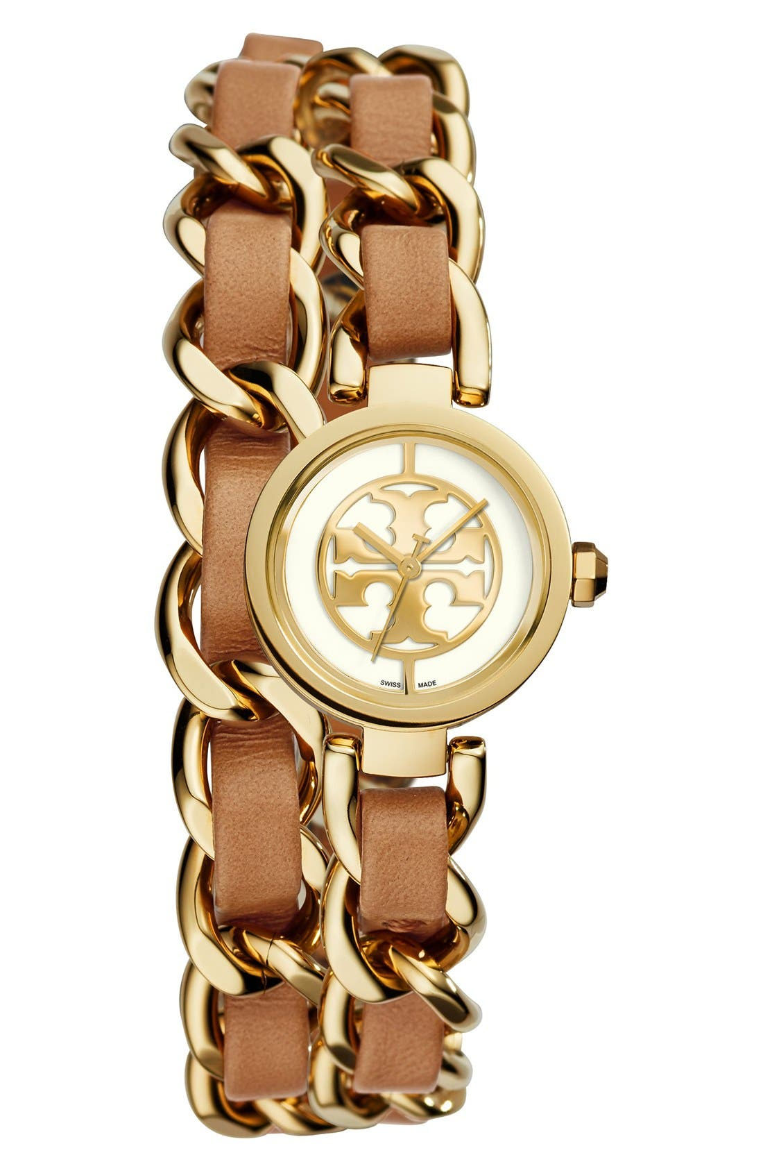 Alternate Image 1 Selected - Tory Burch 'Mini Reva' Double Wrap Chain Watch, 20mm