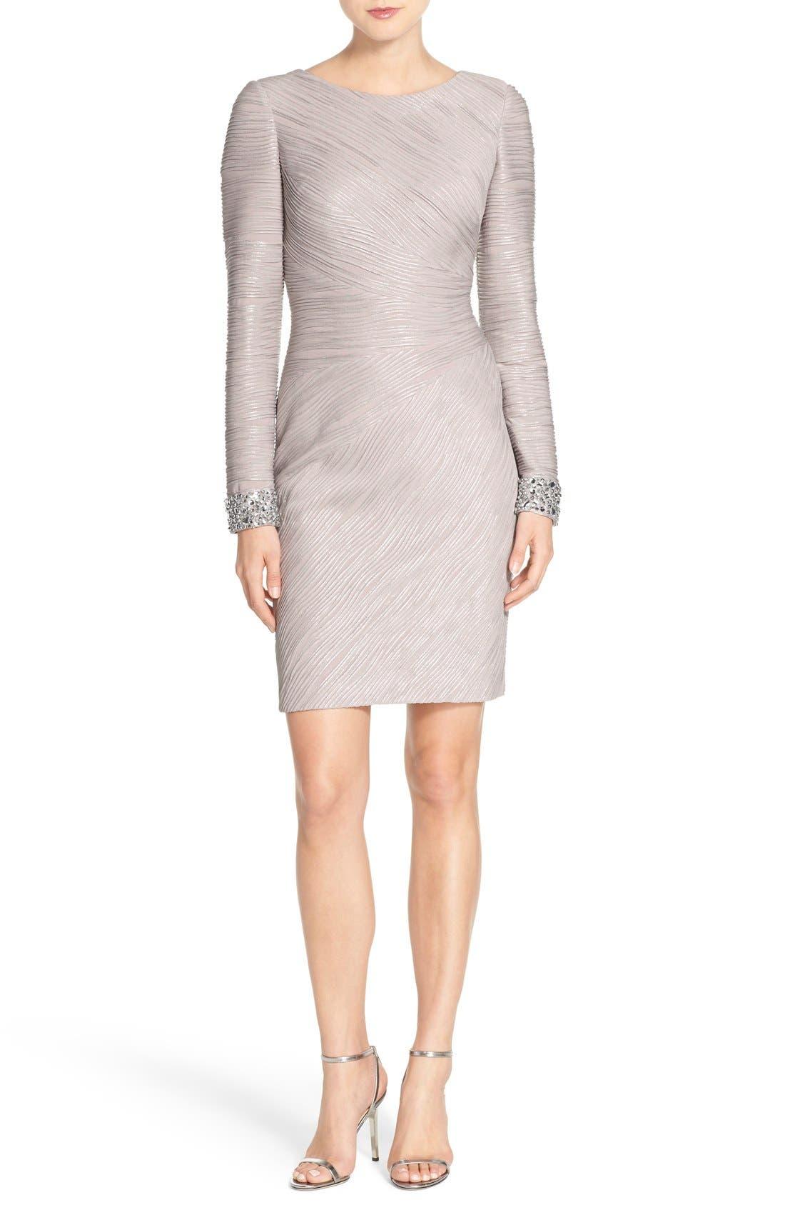 Embellished Sleeve Knit Sheath Dress,                             Alternate thumbnail 4, color,                             Taupe