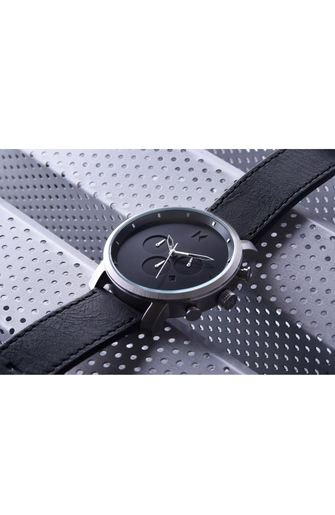 Chronograph Leather Strap Watch, 45mm,                             Alternate thumbnail 4, color,                             All Black