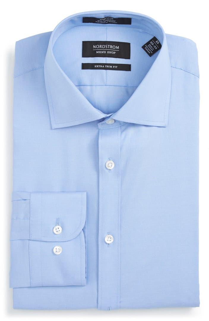 Nordstrom men 39 s shop extra trim fit non iron solid dress for Extra trim fit dress shirt
