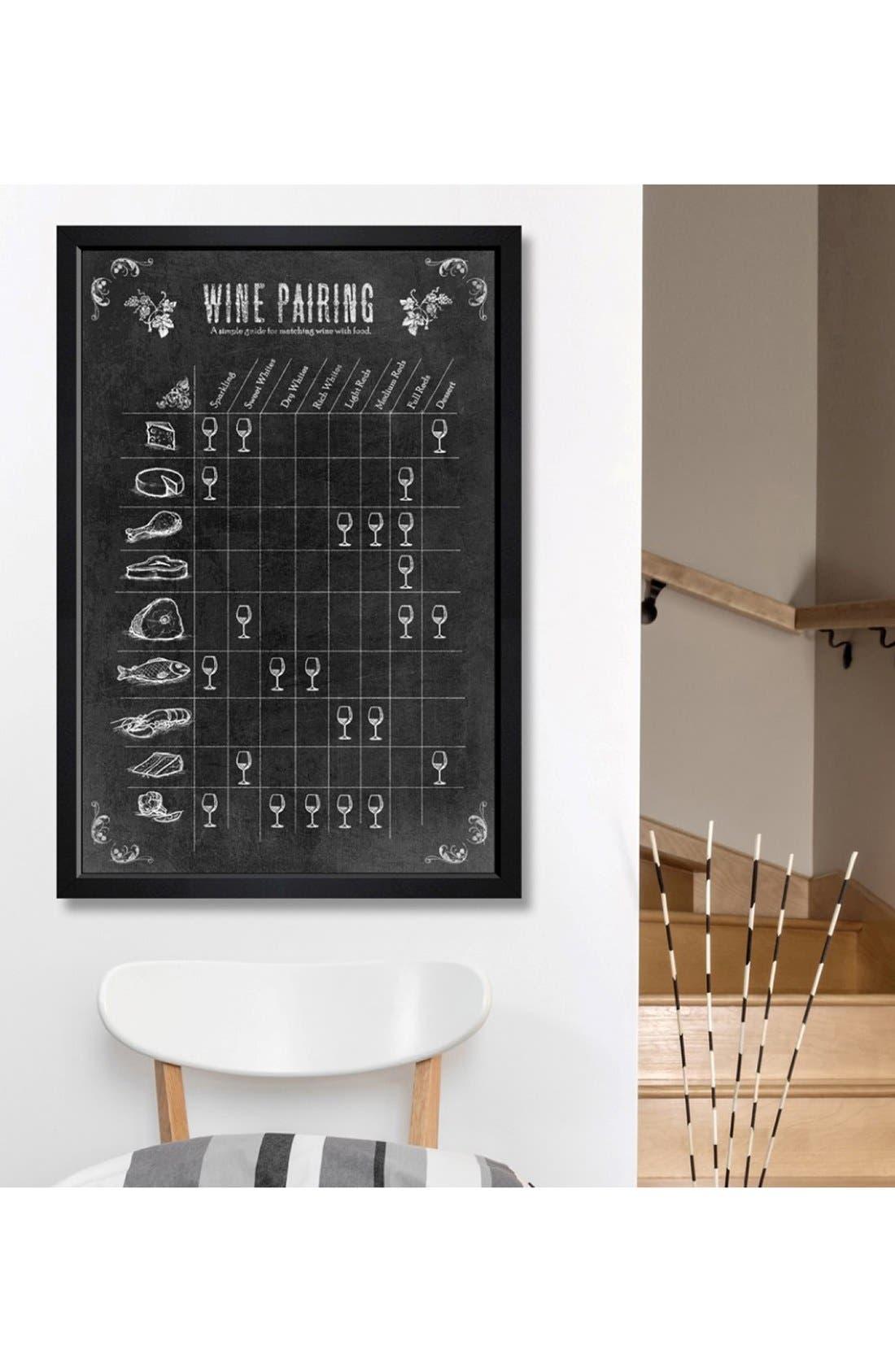 'Wine Pairing Guide' Framed Print,                             Alternate thumbnail 2, color,                             Black
