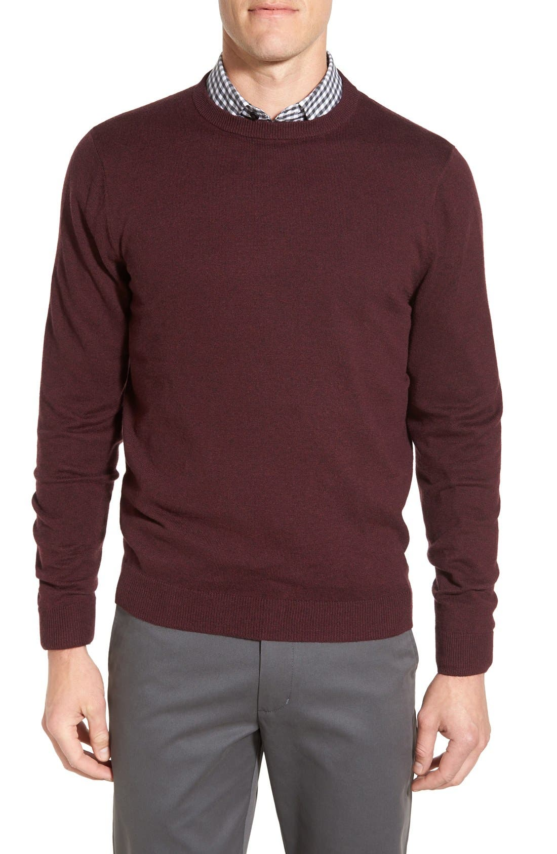 Alternate Image 1 Selected - Nordstrom Men's Shop Cotton & Cashmere Crewneck Sweater (Regular & Tall)