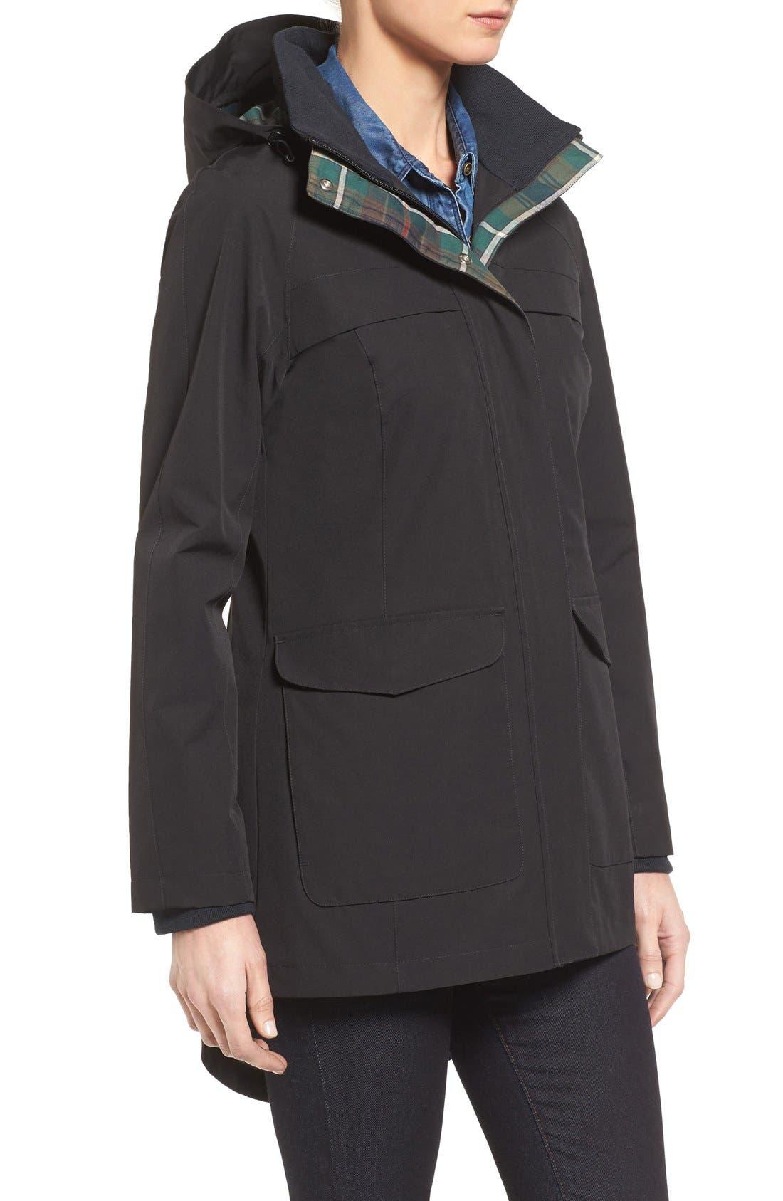 Hooded Raincoat,                             Alternate thumbnail 3, color,                             Black