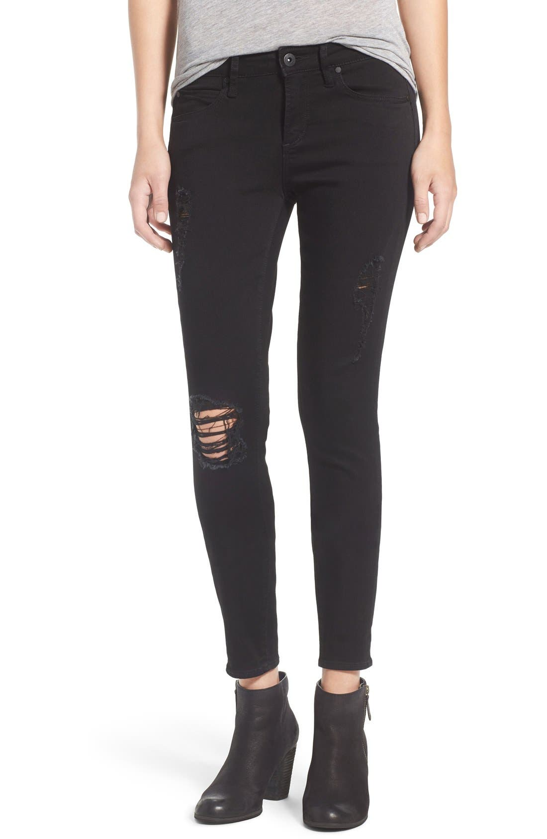 Alternate Image 1 Selected - Articles of Society 'Sarah' Skinny Jeans (Black Cast)