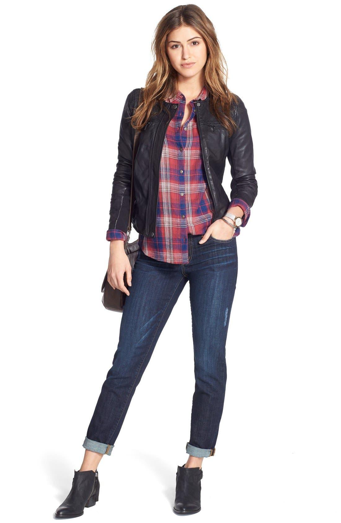 Caslon® Leather Jacket, Shirt & Jeans