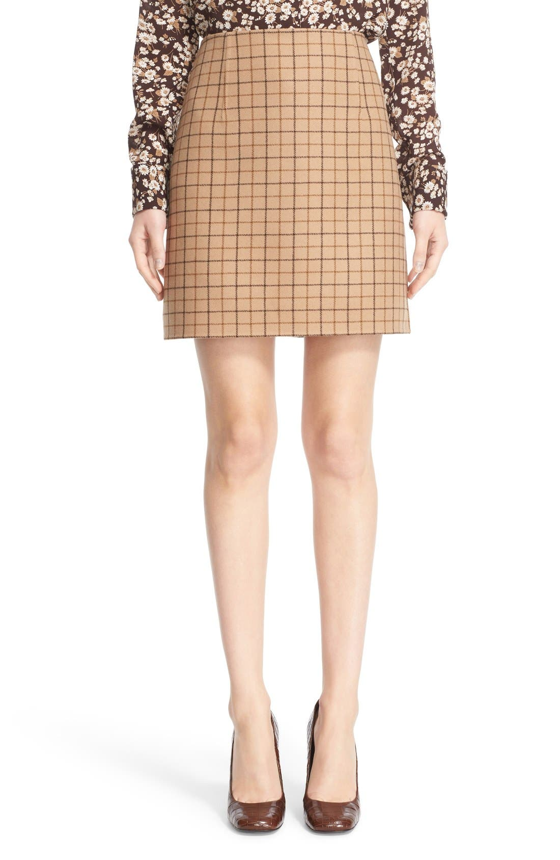 Main Image - Michael Kors Plaid Wool A-Line Skirt