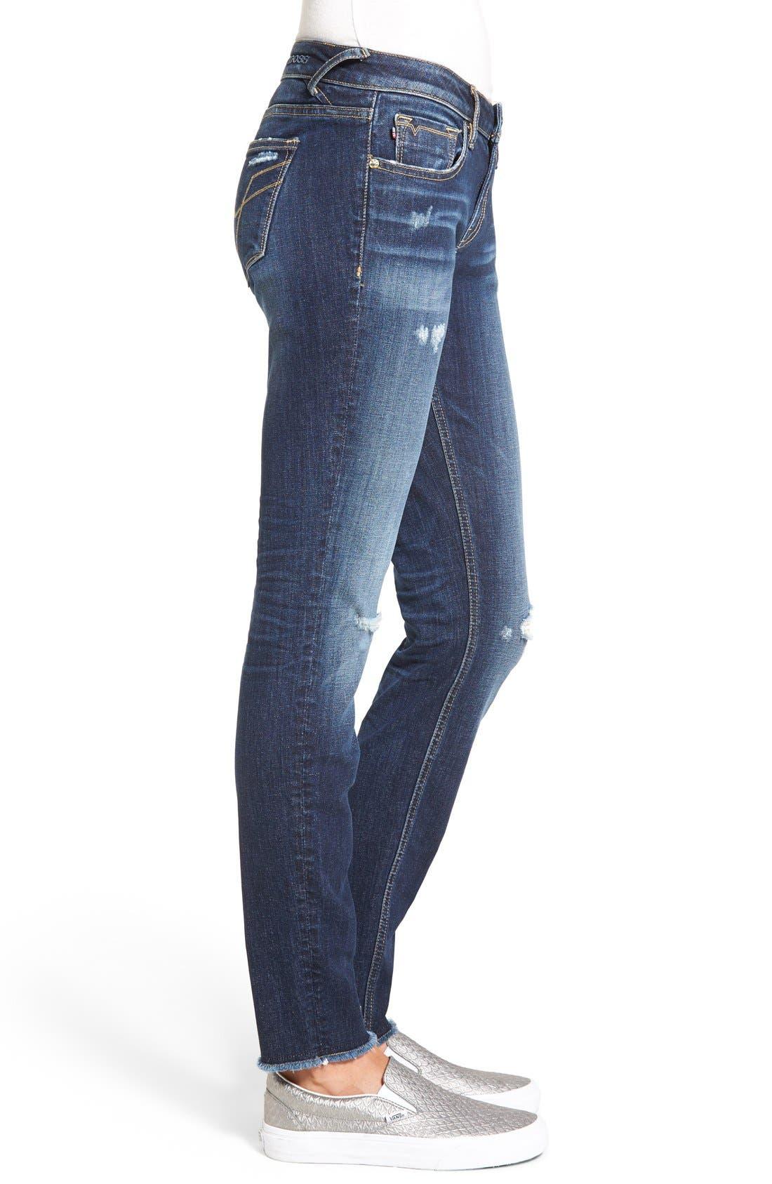 Alternate Image 3  - Vigoss 'Chelsea' Frayed Hem Skinny Jeans