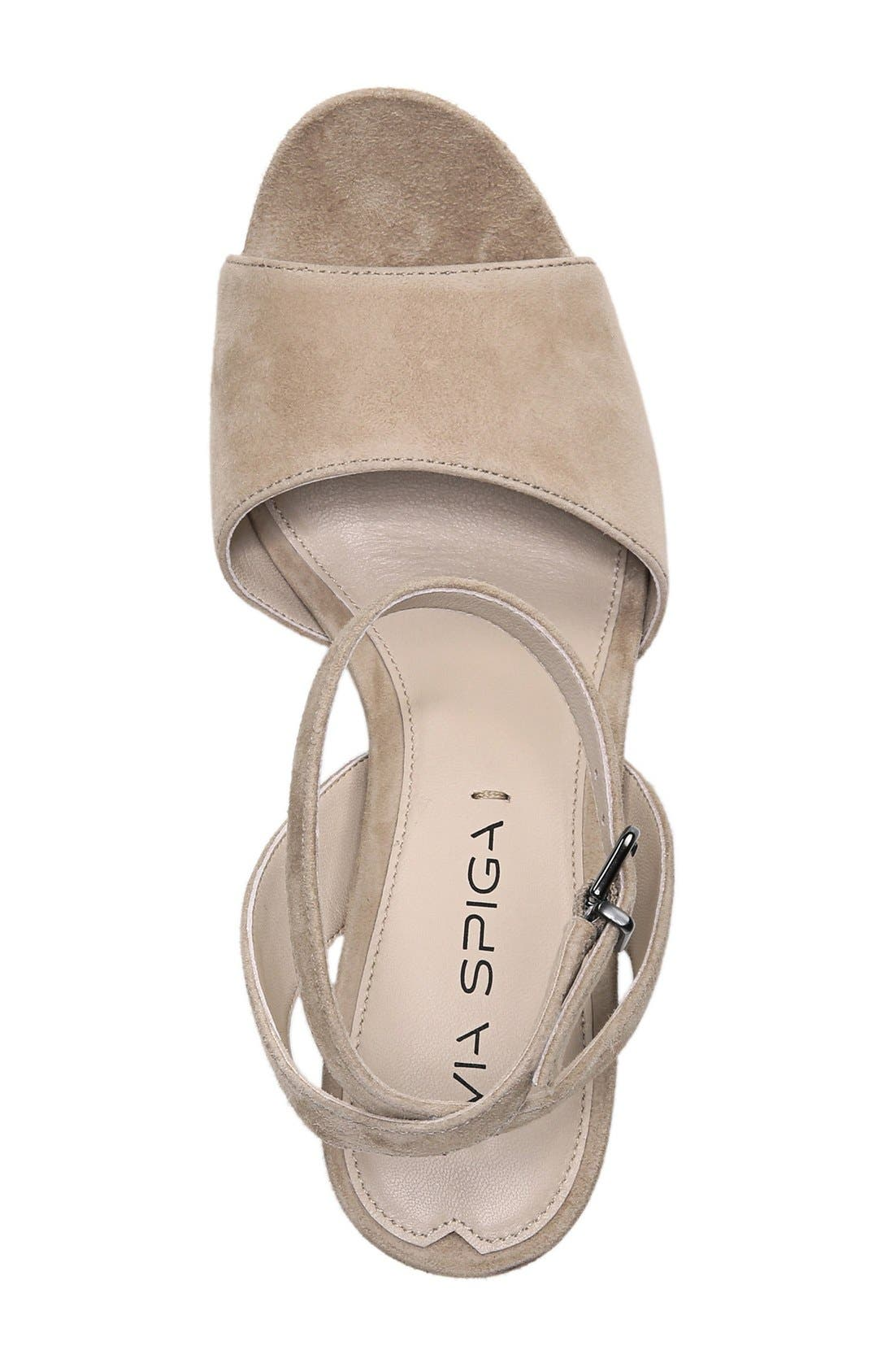 'Piper' Ankle Strap Sandal,                             Alternate thumbnail 3, color,                             Light Camel Suede