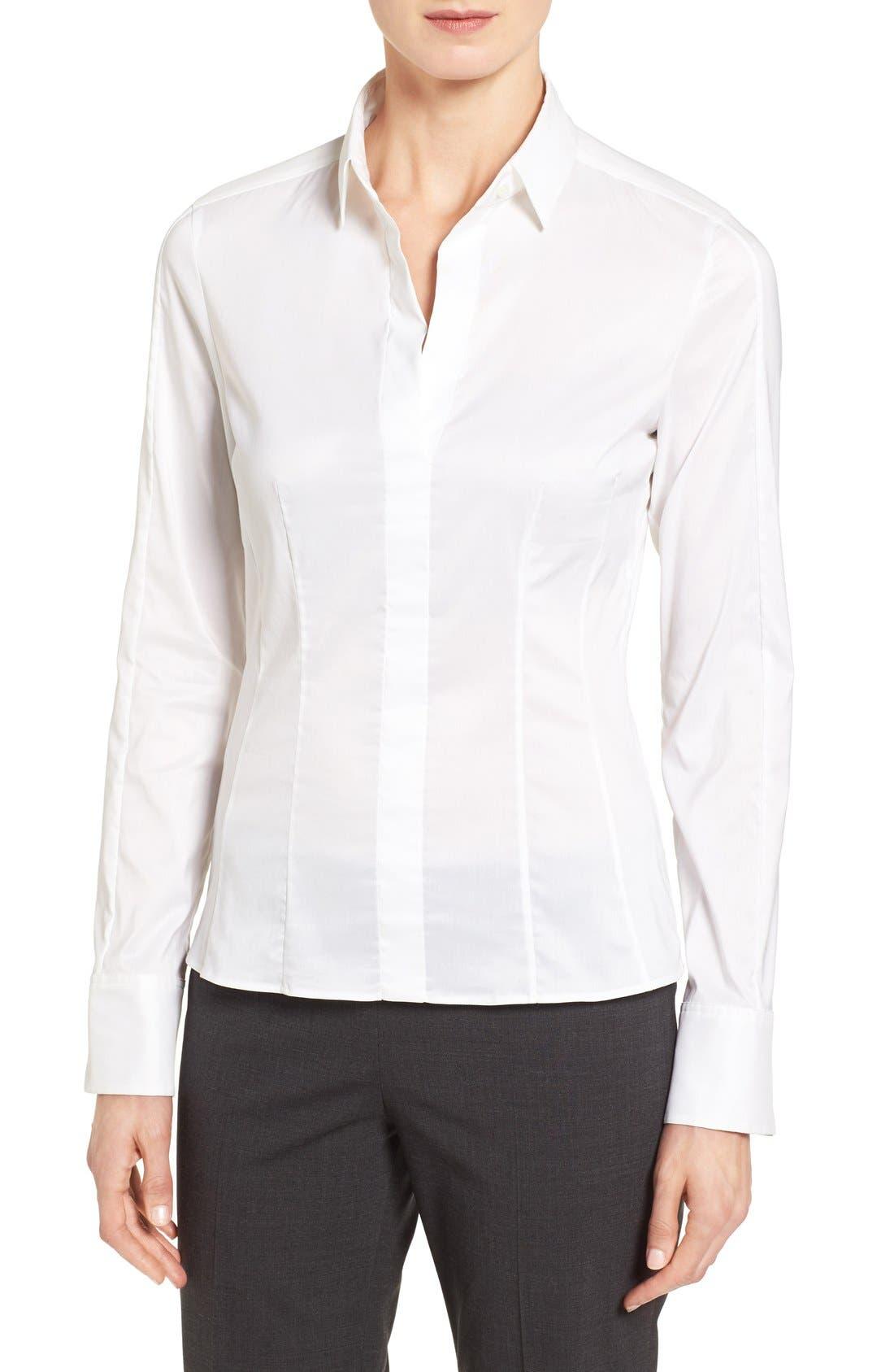 Main Image - BOSS 'Bashina' Stretch Poplin Shirt (Regular & Petite)