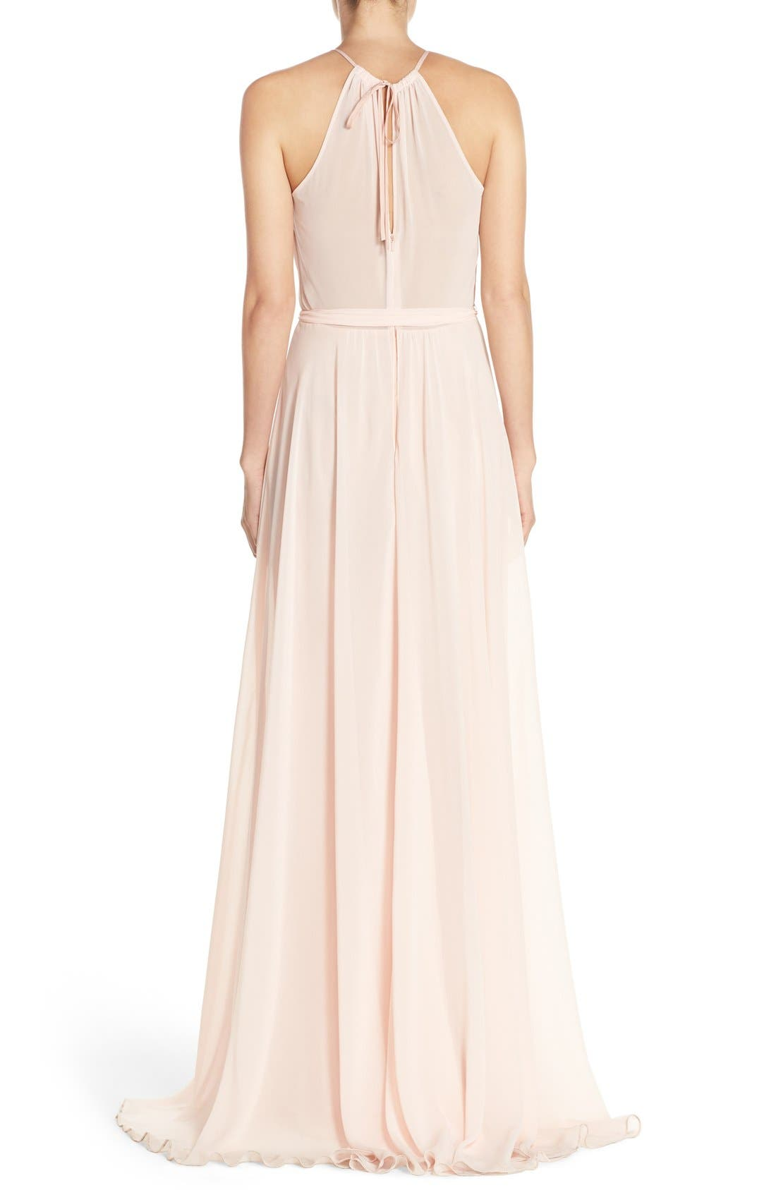'Delaney' Belted A-Line Chiffon Halter Dress,                             Alternate thumbnail 2, color,                             Blush