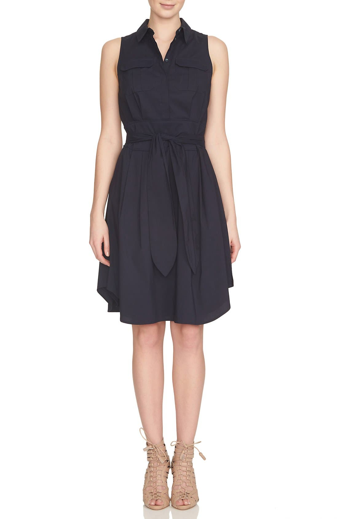 Collared Cotton Blend Fit & Flare Dress,                         Main,                         color, Caviar