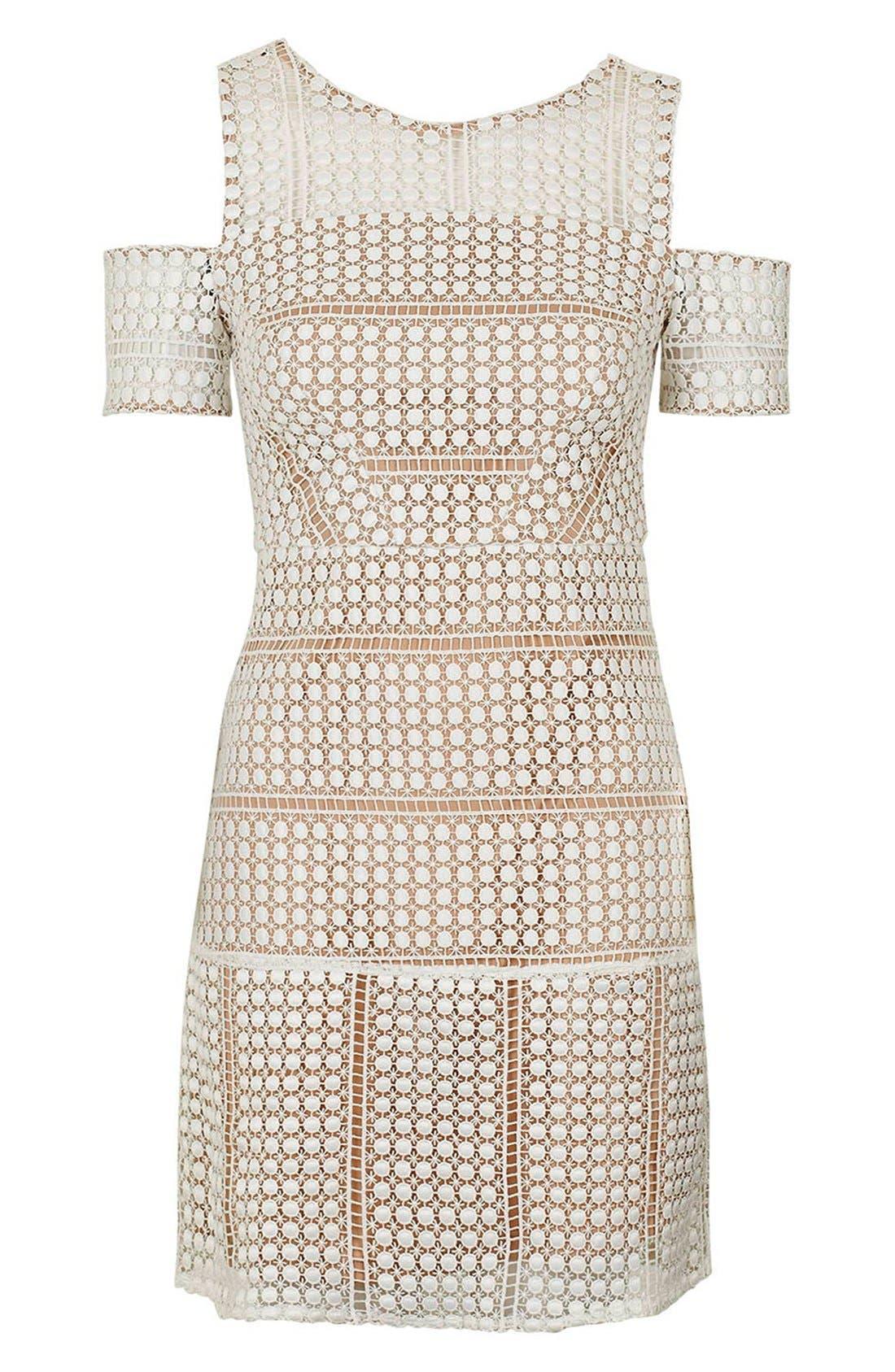 Alternate Image 5  - Topshop Circle Lace Cold Shoulder Dress (Regular & Petite)