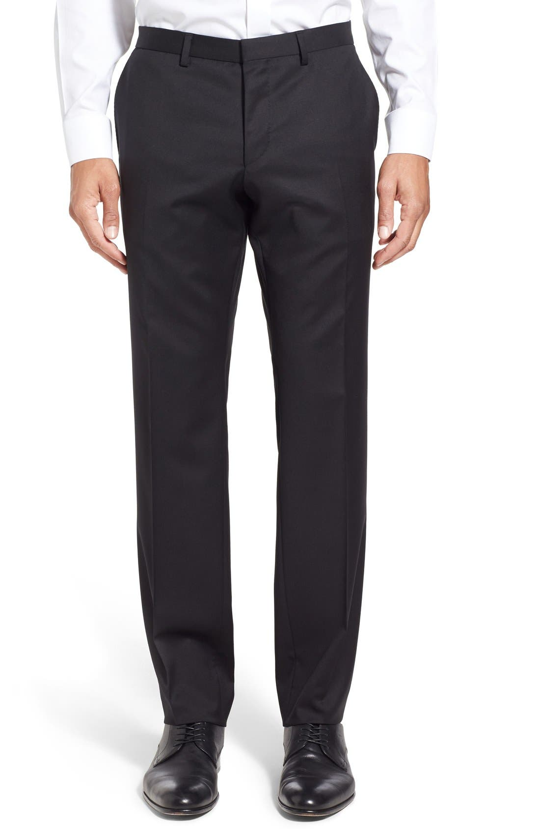 Ryan/Win Extra Trim Fit Solid Wool Suit,                             Alternate thumbnail 6, color,                             Black