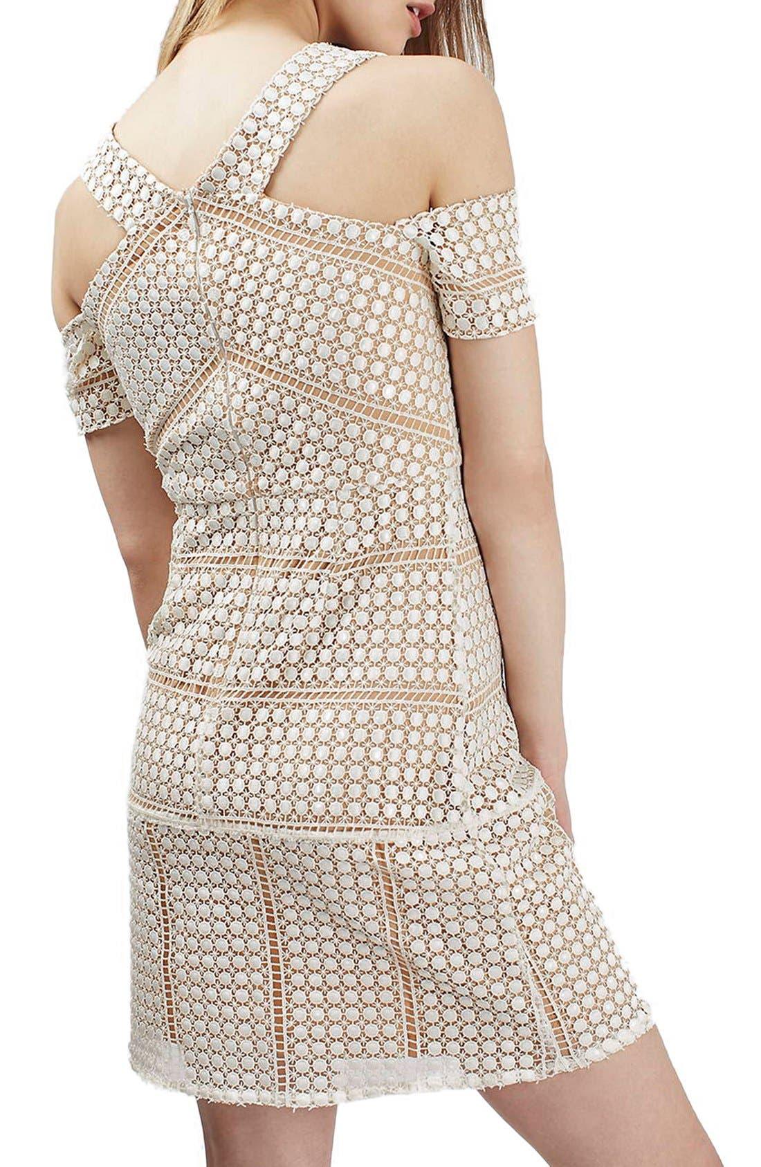 Alternate Image 2  - Topshop Circle Lace Cold Shoulder Dress (Regular & Petite)