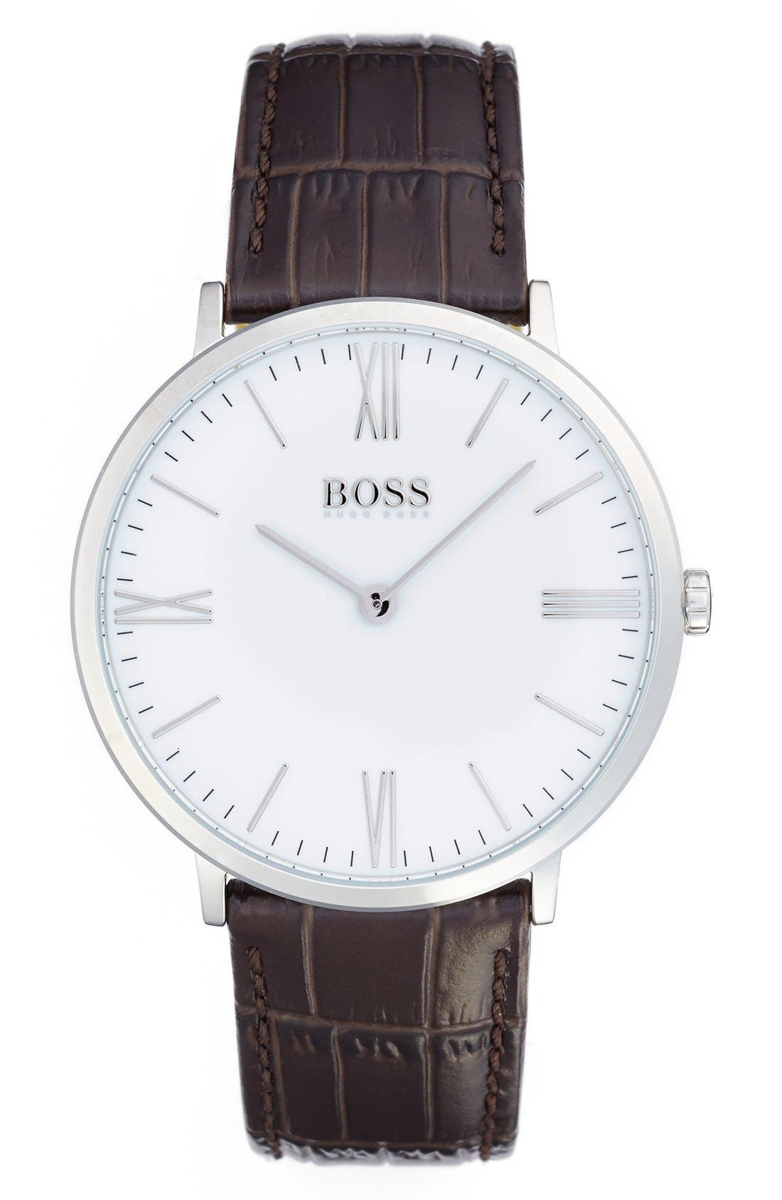 Main Image - BOSS Ultra Slim Leather Strap Watch, 40mm