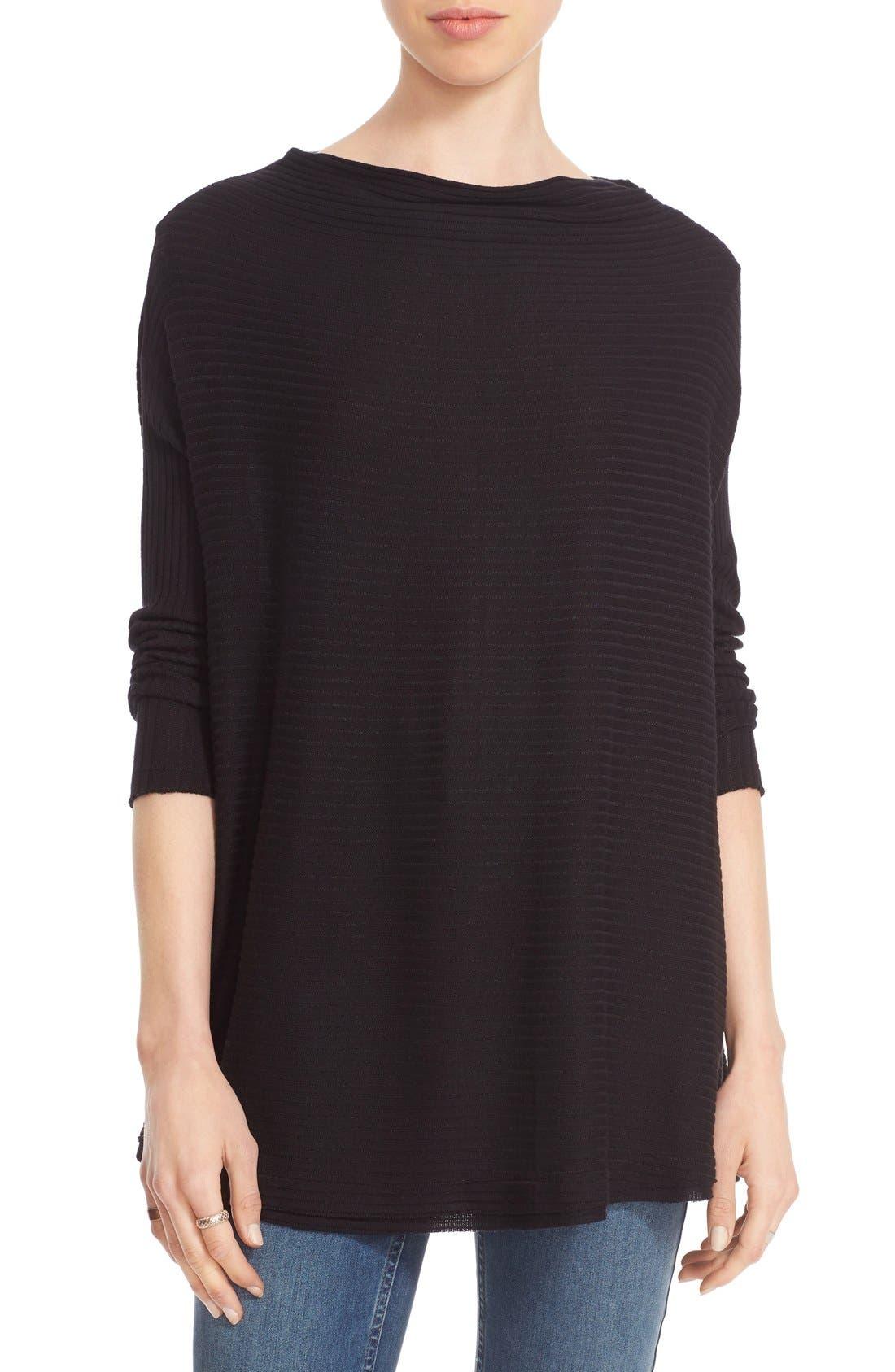 Lover Rib Split Back Pullover,                         Main,                         color, Black