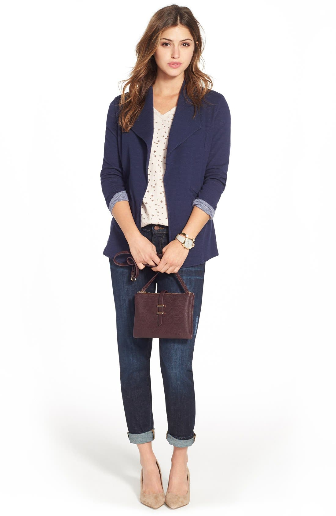 Cotton Knit Open Front Blazer,                             Alternate thumbnail 2, color,                             Navy Pattern