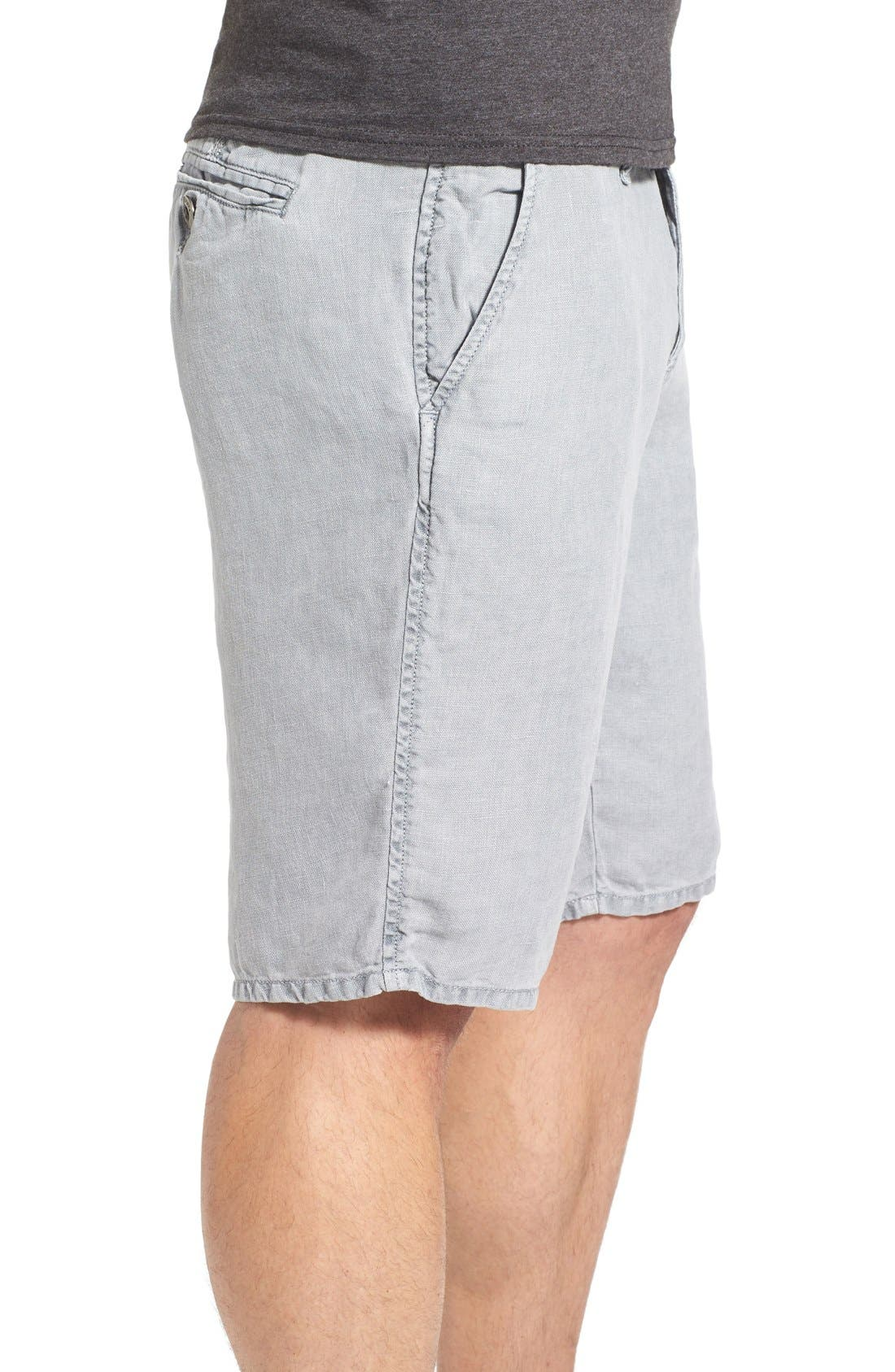 'Havana' Linen Shorts,                             Alternate thumbnail 3, color,                             Lite Grey