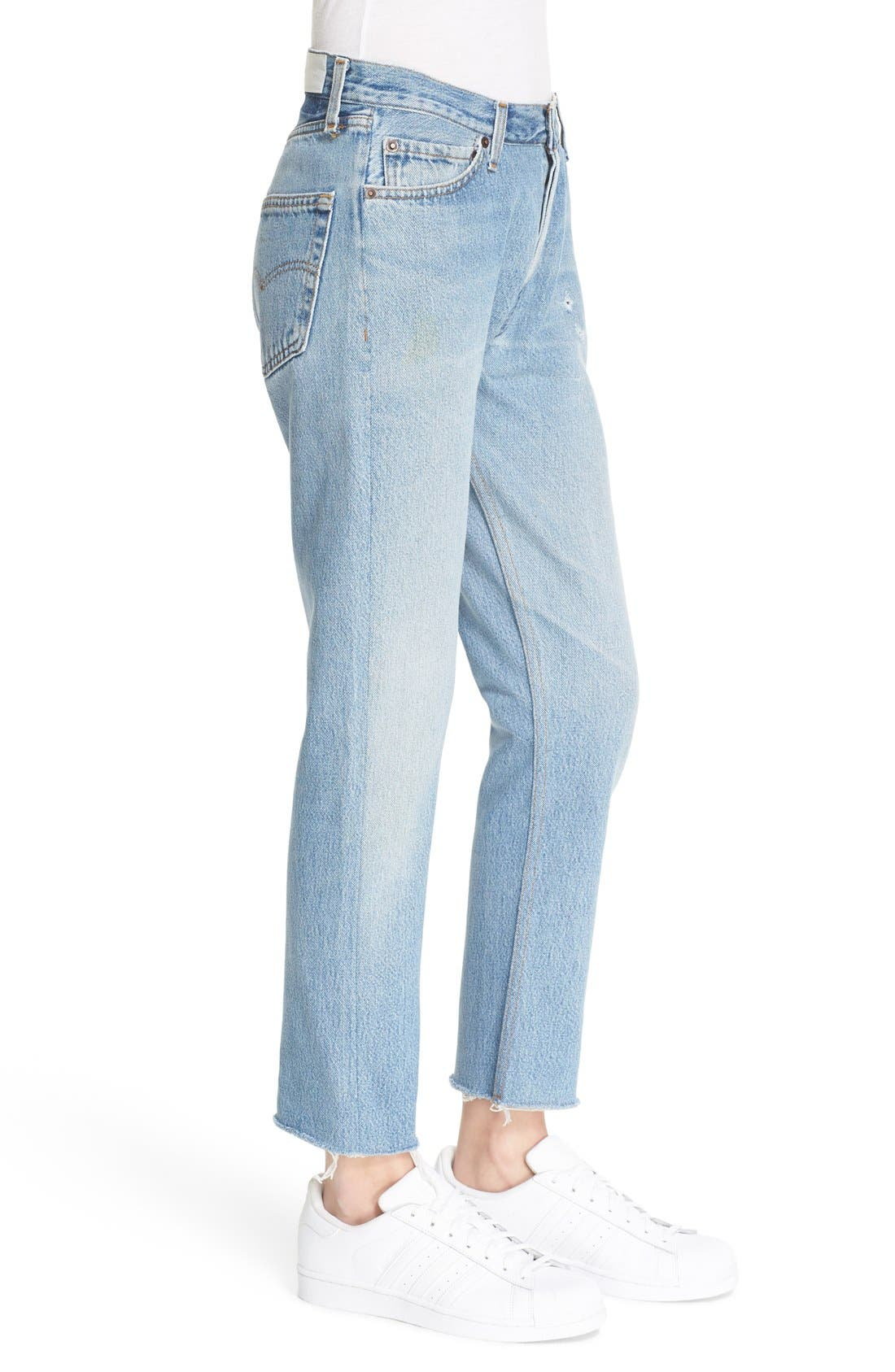 'The Relaxed Crop' Reconstructed Jeans,                             Alternate thumbnail 3, color,                             No Destruction