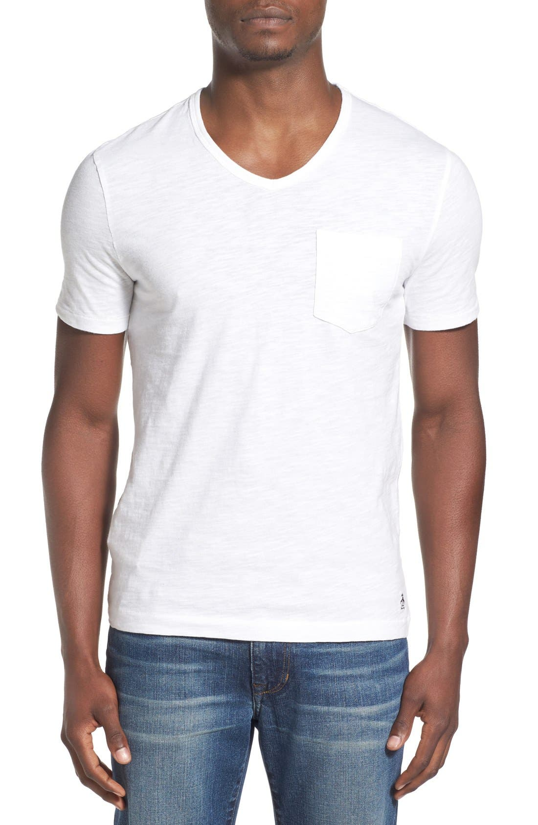 'Bing' V-Neck Pocket T-Shirt,                             Main thumbnail 1, color,                             Bright White