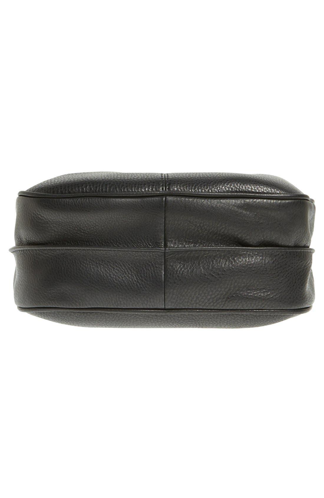 'Mystery' Leather Hobo,                             Alternate thumbnail 6, color,                             Black