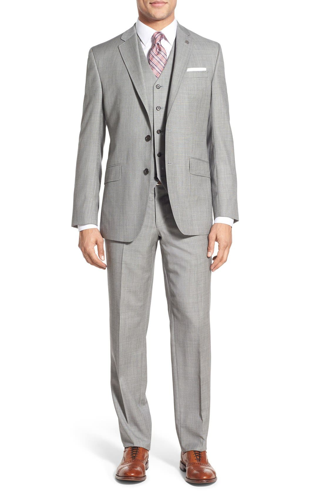 Jones Trim Fit Wool Suit,                             Alternate thumbnail 8, color,                             Medium Grey