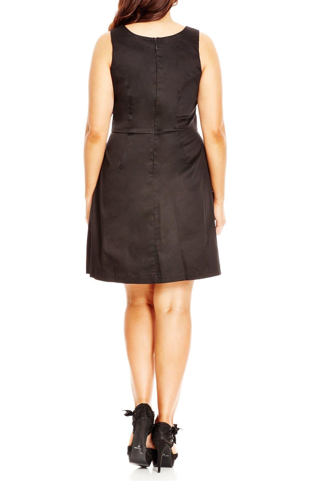 'Mod Madness' Notch Neck Fit & Flare Dress,                             Alternate thumbnail 2, color,                             Black