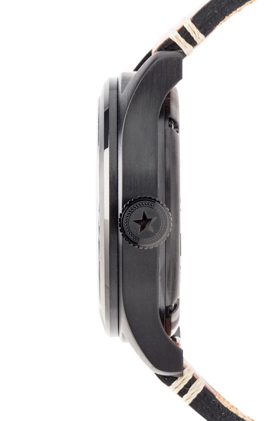 Aviation Automatic Leather Strap Watch, 42mm,                             Alternate thumbnail 3, color,                             Black/ Black/ Tan
