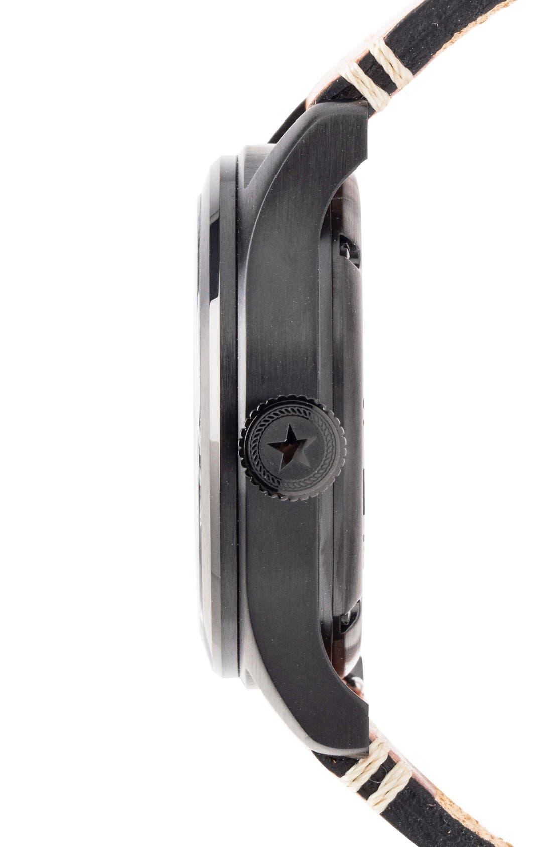 Alternate Image 3  - Jack Mason Aviation Automatic Leather Strap Watch, 42mm