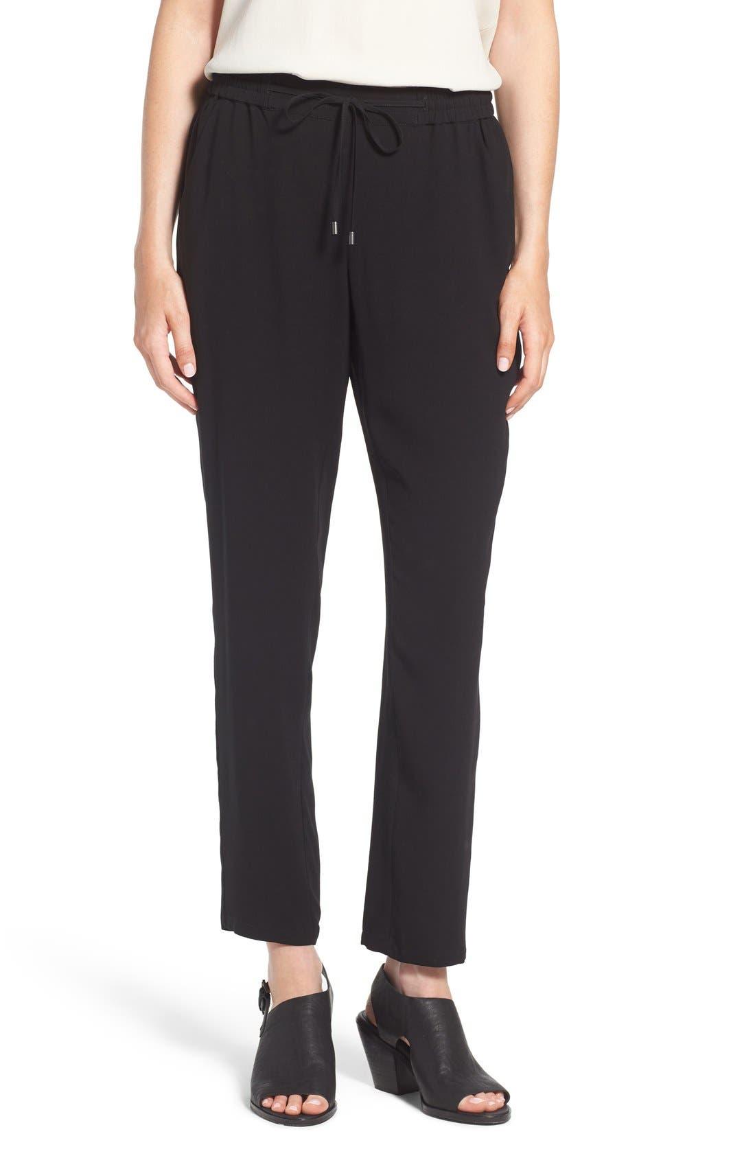 Silk Crepe Ankle Pants,                         Main,                         color, Black
