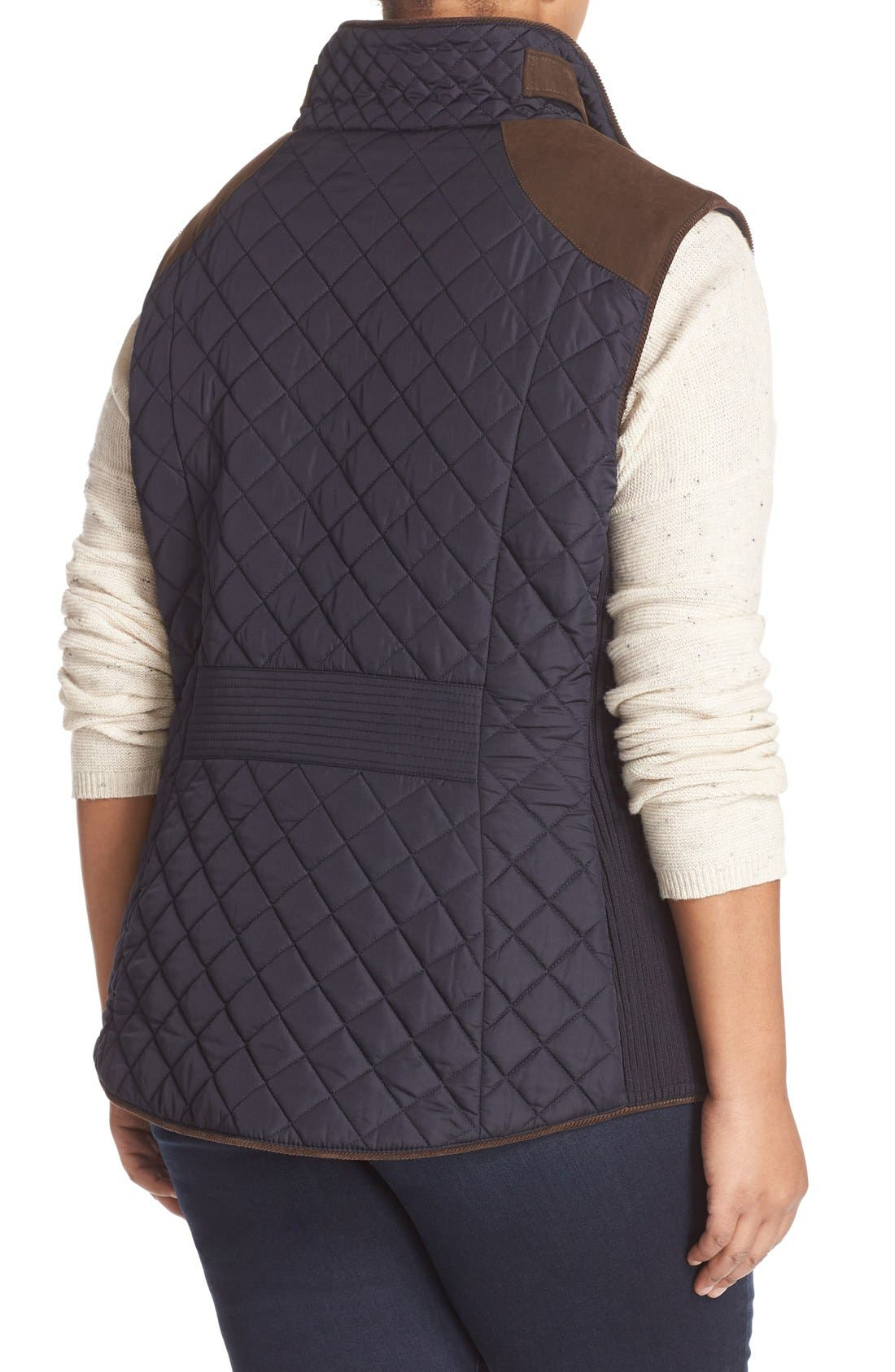 Alternate Image 2  - Gallery Quilted Vest with Faux Suede Trim (Plus Size)
