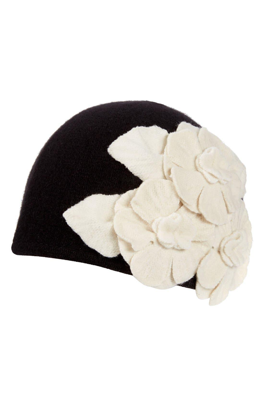 Floral Embellished Cap,                             Main thumbnail 1, color,                             Black/ Natural
