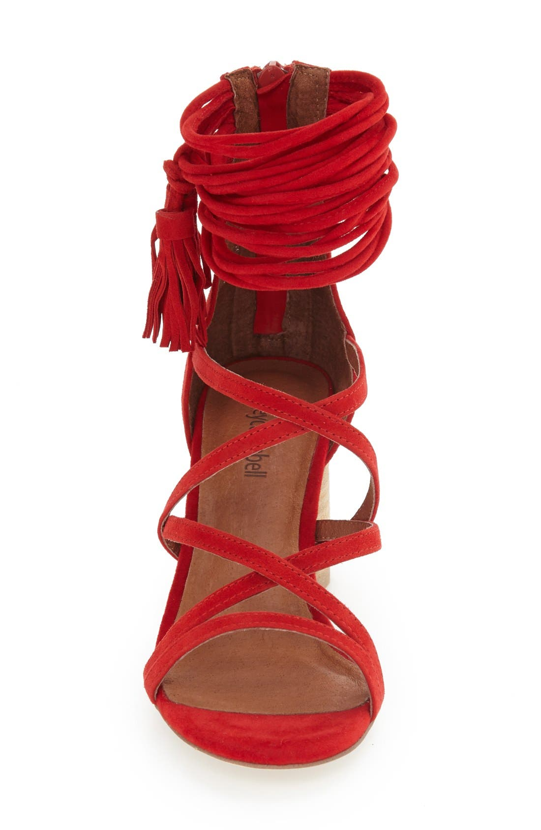 'Despina' Strappy Sandal,                             Alternate thumbnail 3, color,                             Red Suede