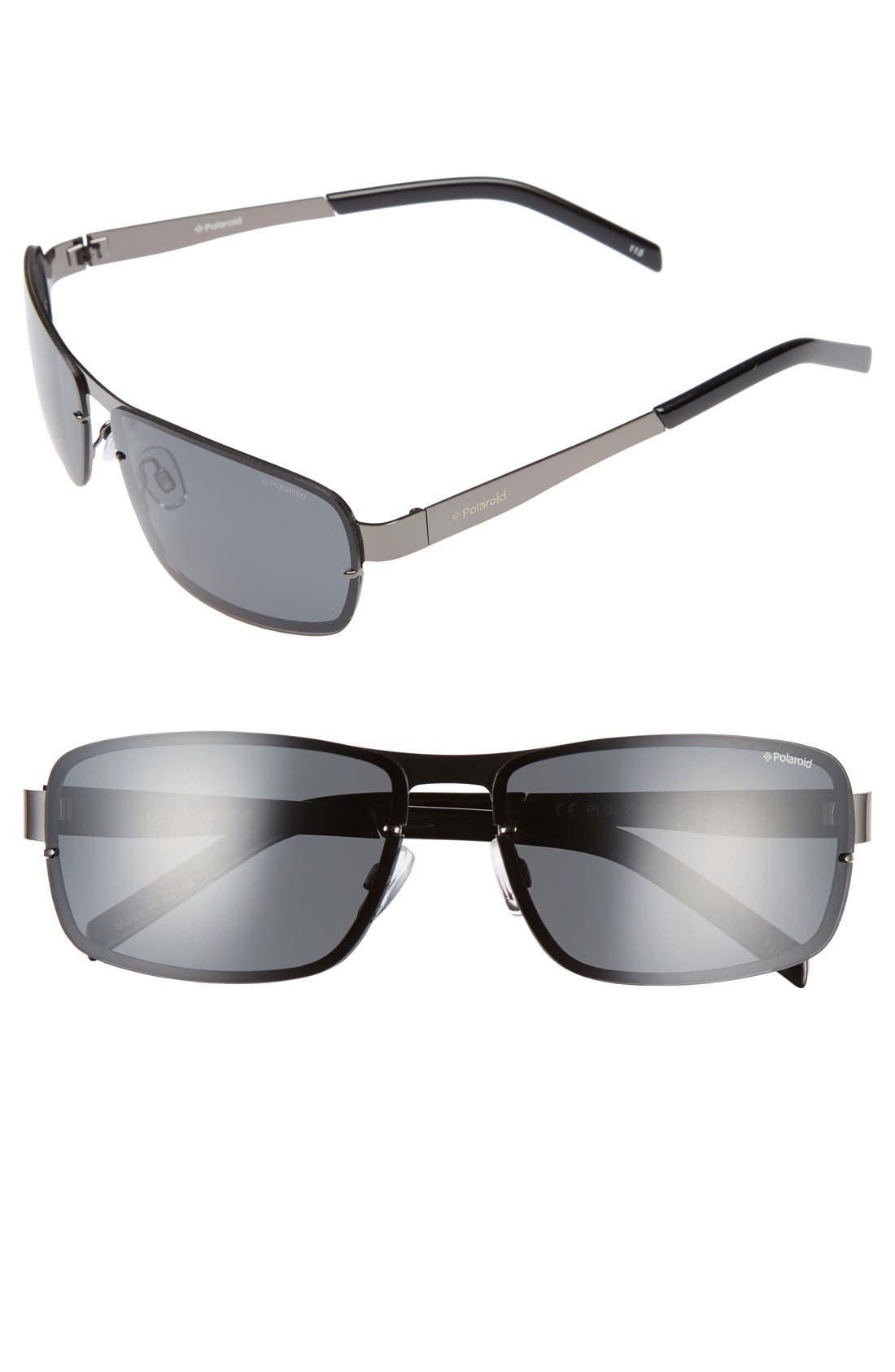 Polaroid 63mm Polarized Sunglasses,                             Main thumbnail 1, color,                             Dark Ruthenium