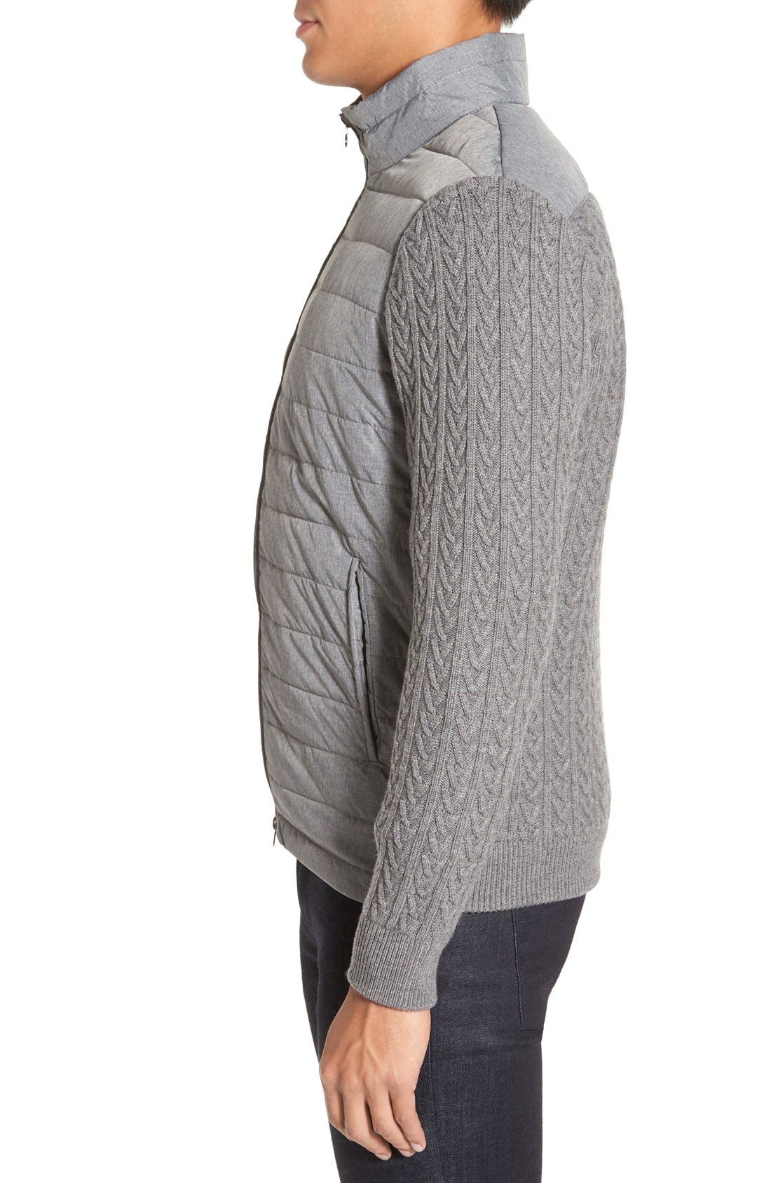 'Beacon' Trim Fit Quilted Cable Knit Zip Sweater,                             Alternate thumbnail 3, color,                             Grey