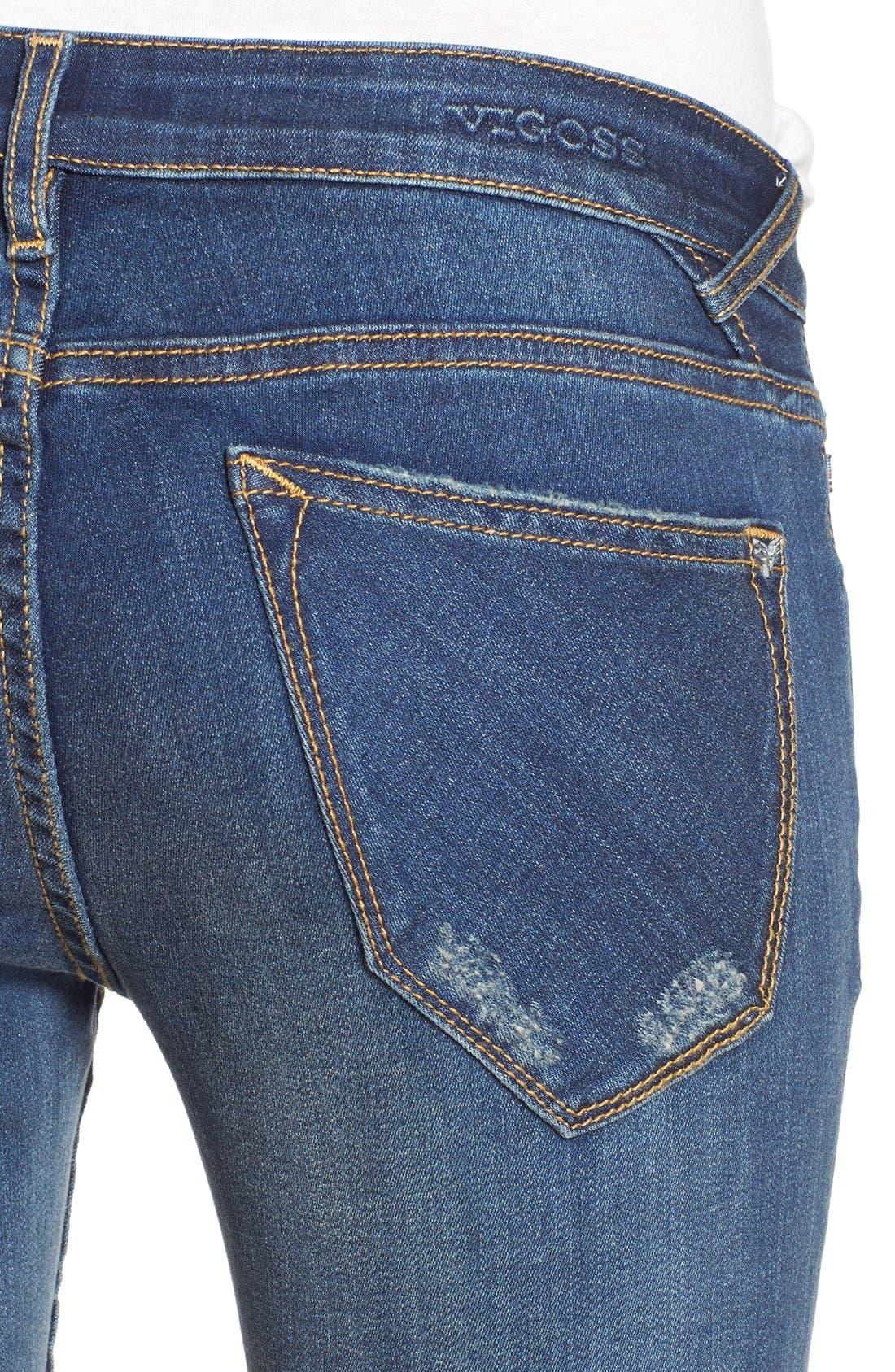 Alternate Image 4  - Vigoss 'Thompson' Distressed Skinny Jeans (Neptune)