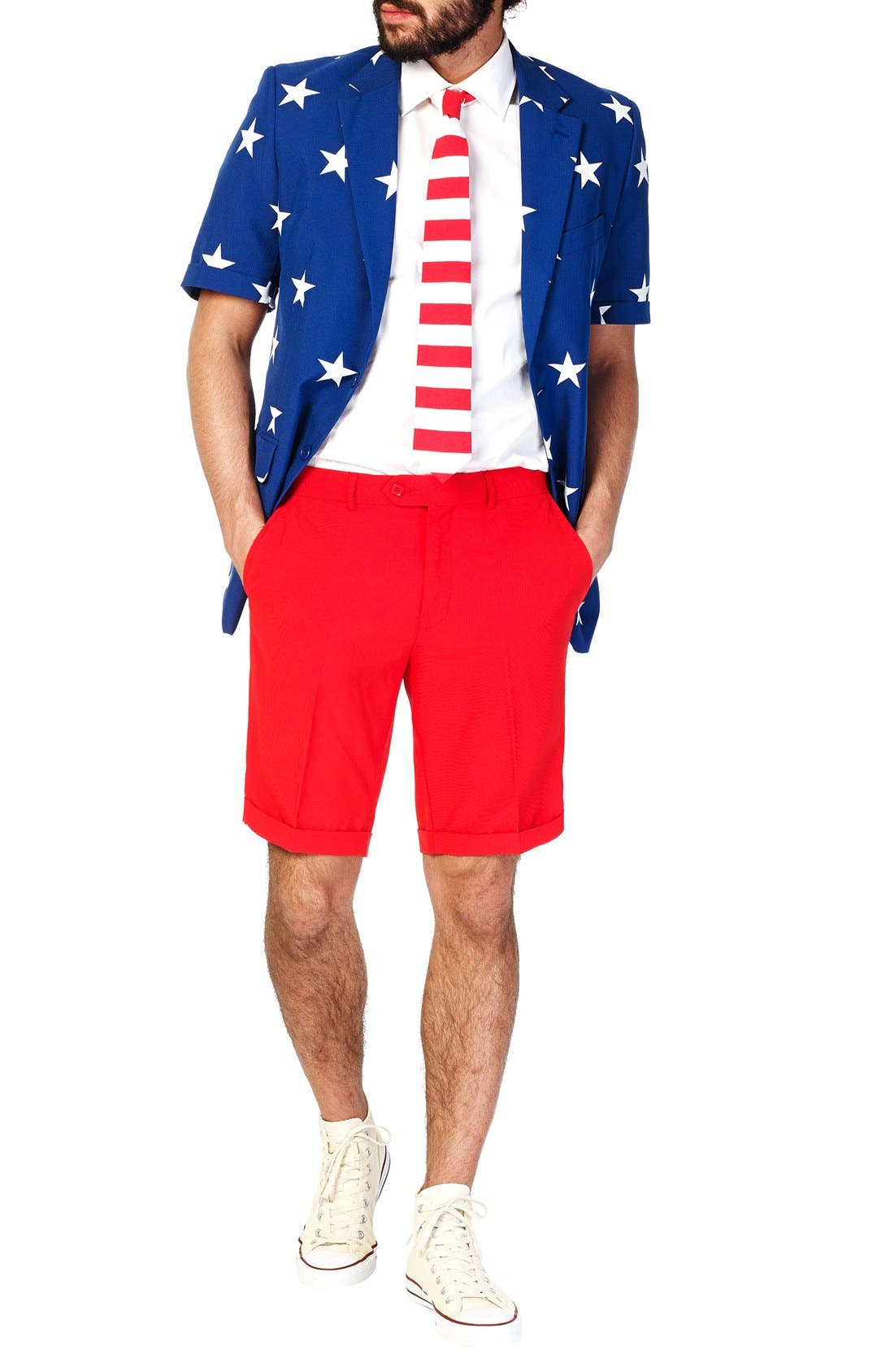 'Summer Stars & Stripes' Trim Fit Short Suit with Tie,                             Main thumbnail 1, color,                             Blue/ Red/ White