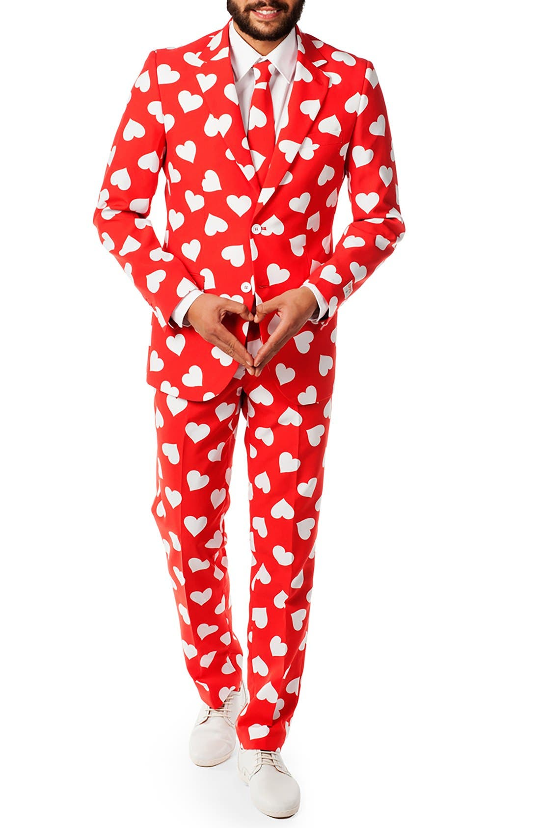 'Mr. Lover Lover' Trim Fit Two-Piece Suit with Tie,                         Main,                         color, Bright Red