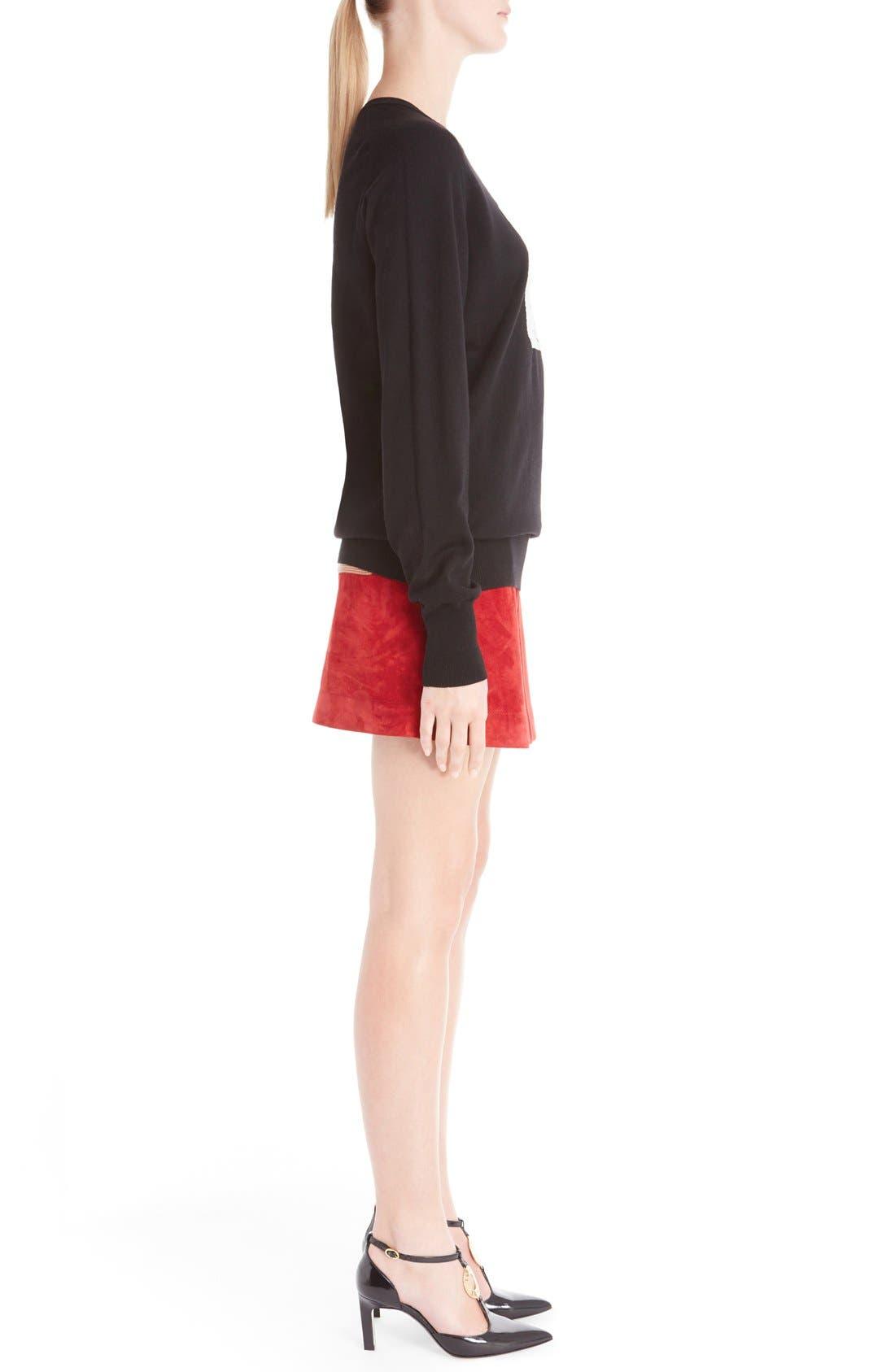 Wool Blend Intarsia Sweater,                             Alternate thumbnail 4, color,                             Black