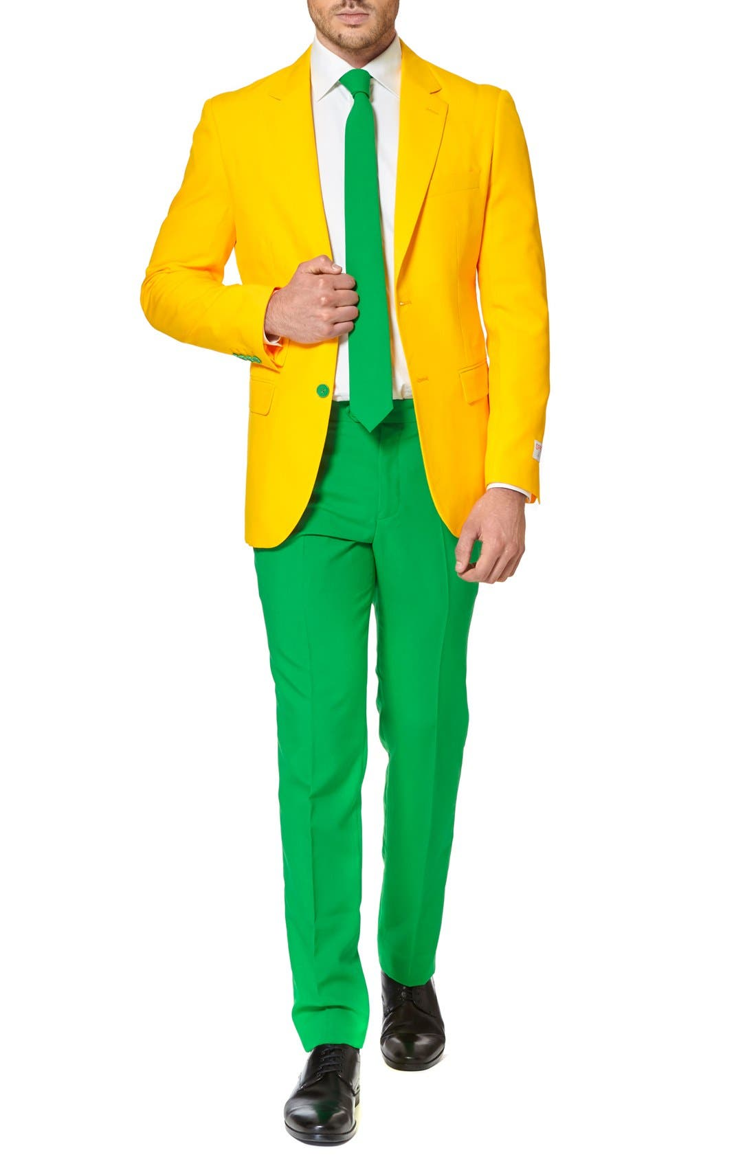 'Green & Gold' Trim Fit Suit with Tie,                         Main,                         color, Green/ Gold